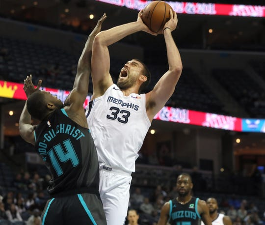 Memphis Grizzlies center Marc Gasol is fouled during his shot by Charlotte Hornets forward Michael Kidd-Gilchrist during their game at the FedExForum on Wednesday, Jan. 23, 2019.