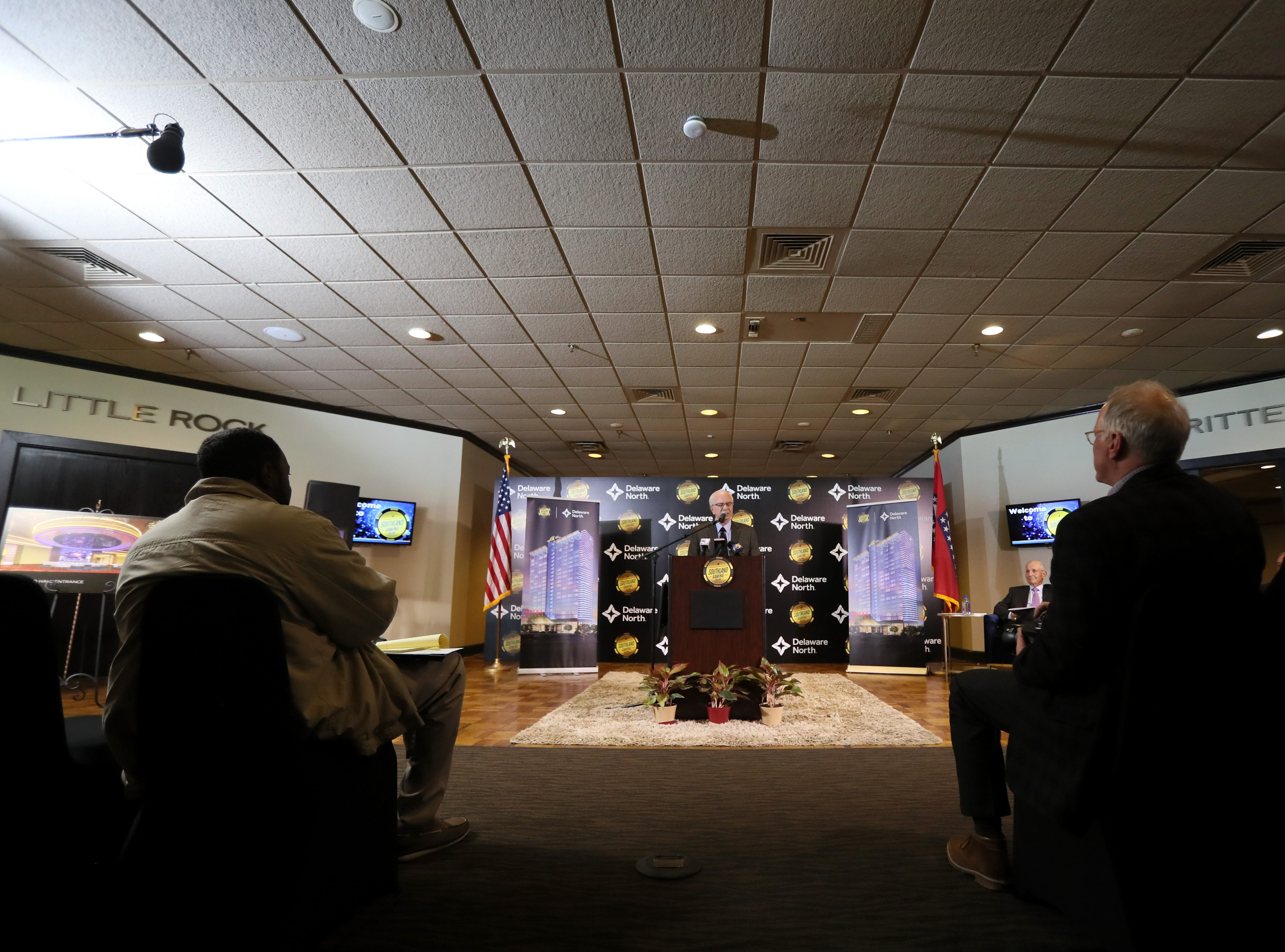 David Wolf, president and general manager of Southland Gaming and Racing, joins hospitality company Delaware North in their announcement of their $250 million expansion of the West Memphis casino on Thursday, Jan. 24, 2019.