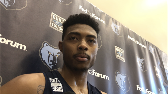 Bruno Caboclo talks with media on Jan. 24 after his first practice on a 10-day contract with the Memphis Grizzlies