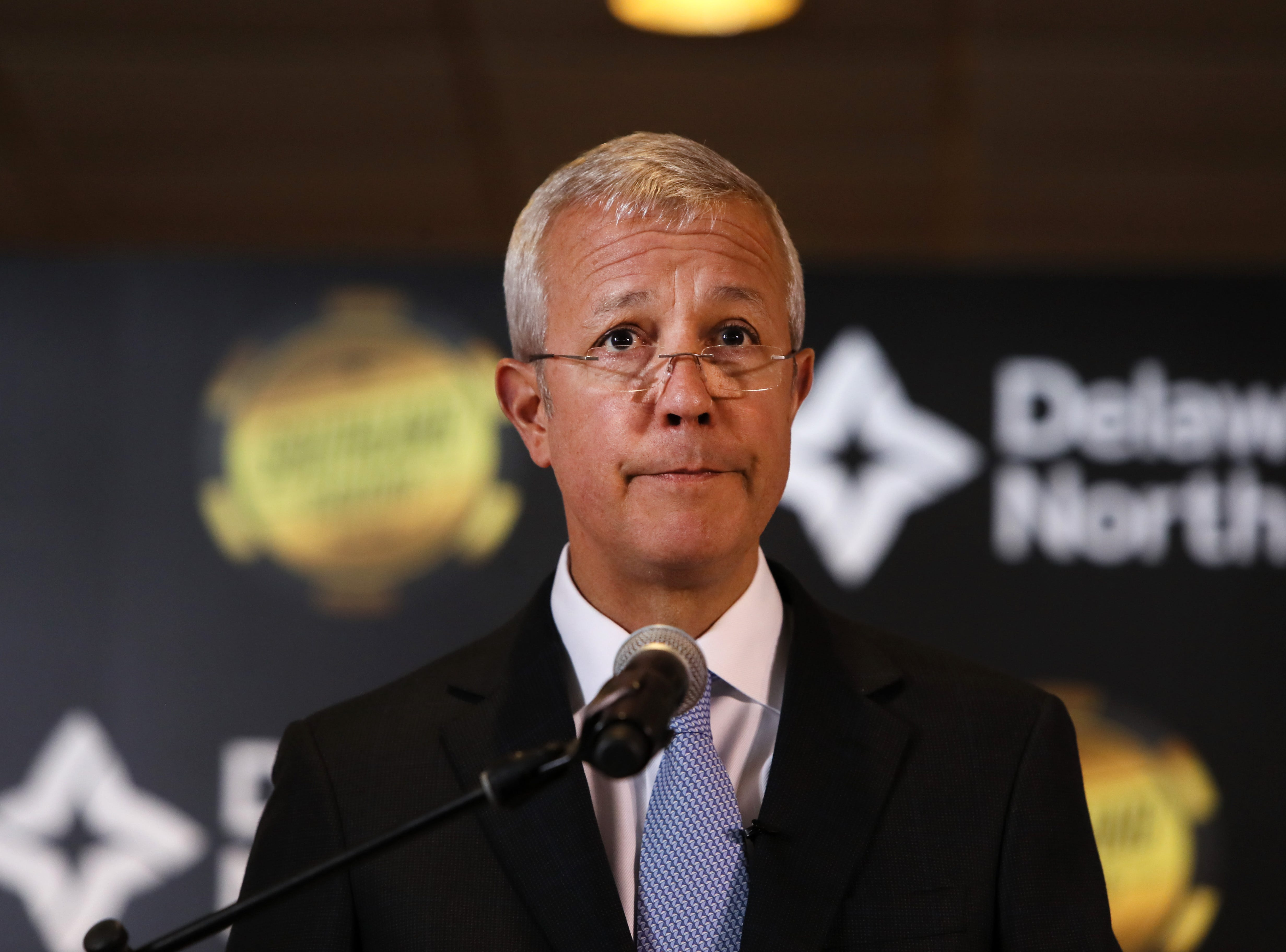 Lou Jacobs, co-chief executive officer of hospitality company Delaware North, makes an announcement of their $250 million expansion of Southland Gaming and Racing at the West Memphis casino on Thursday, Jan. 24, 2019.