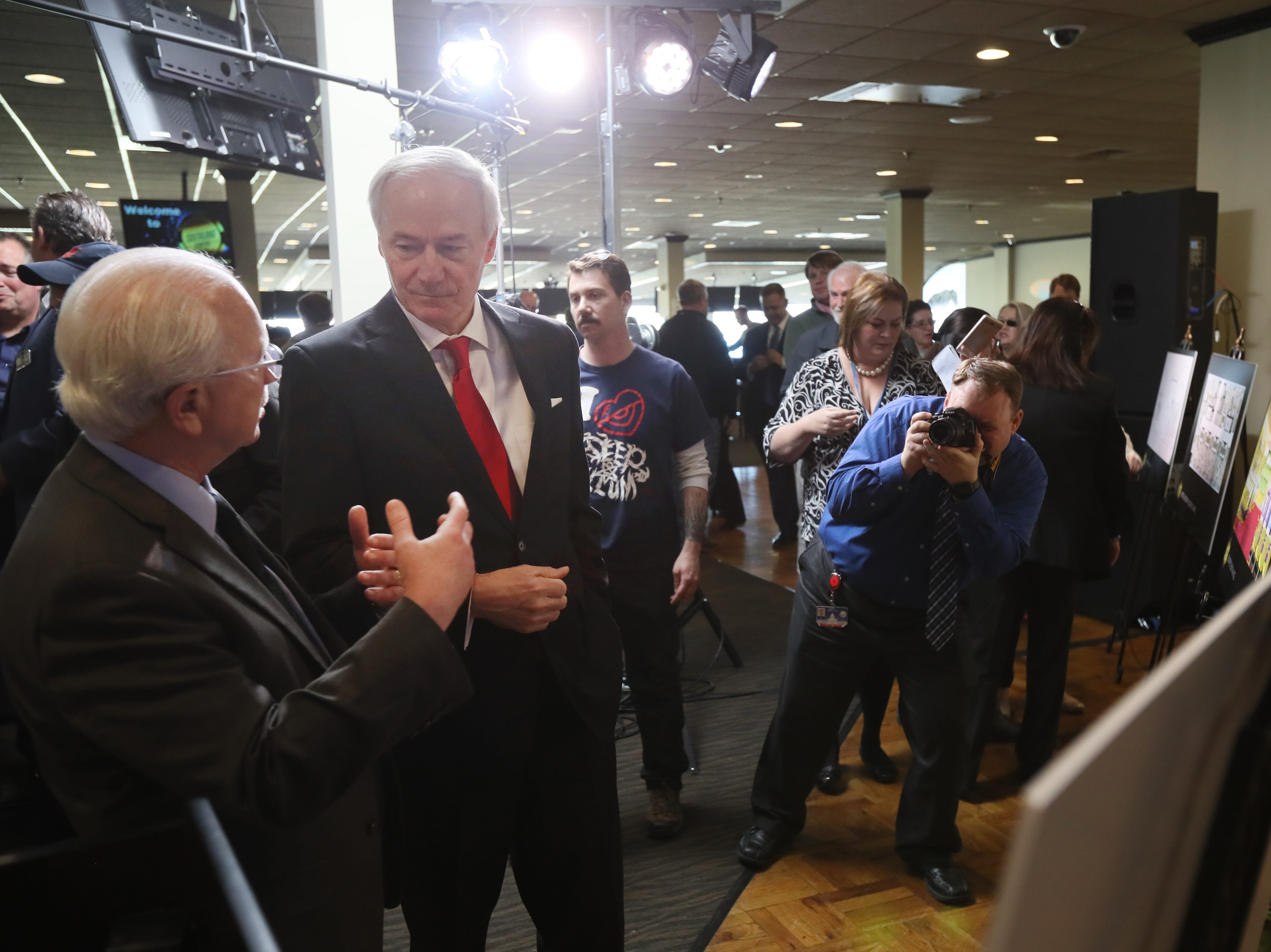 Arkansas Gov. Asa Hutchinson joins hospitality company Delaware North as they make an announcement of their $250 million expansion of Southland Gaming and Racing at the West Memphis casino on Thursday, Jan. 24, 2019.