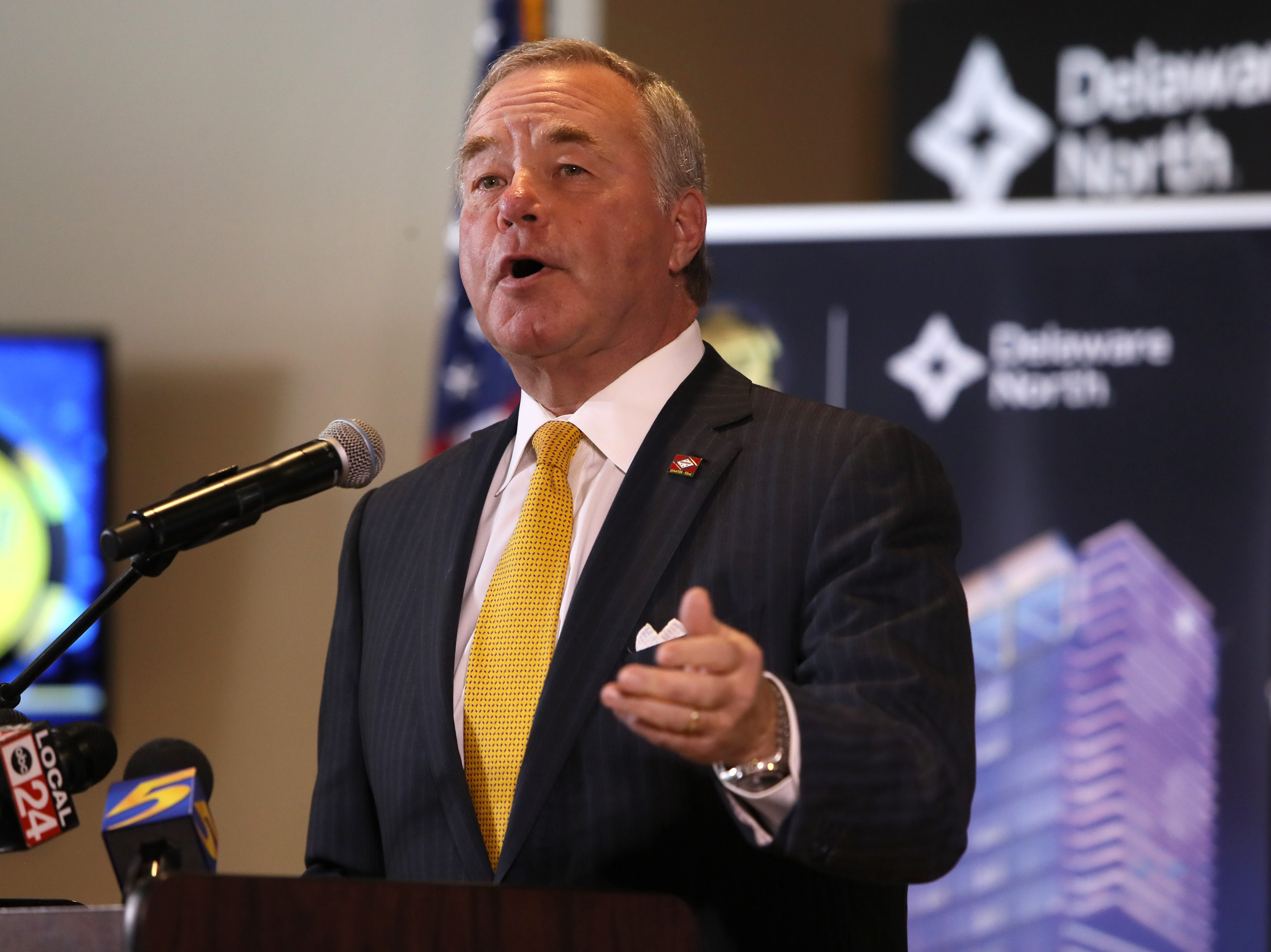 Akansas Sen. Keith Ingram joins hospitality company Delaware North as they make an announcement of their $250 million expansion of Southland Gaming and Racing at the West Memphis casino on Thursday, Jan. 24, 2019.