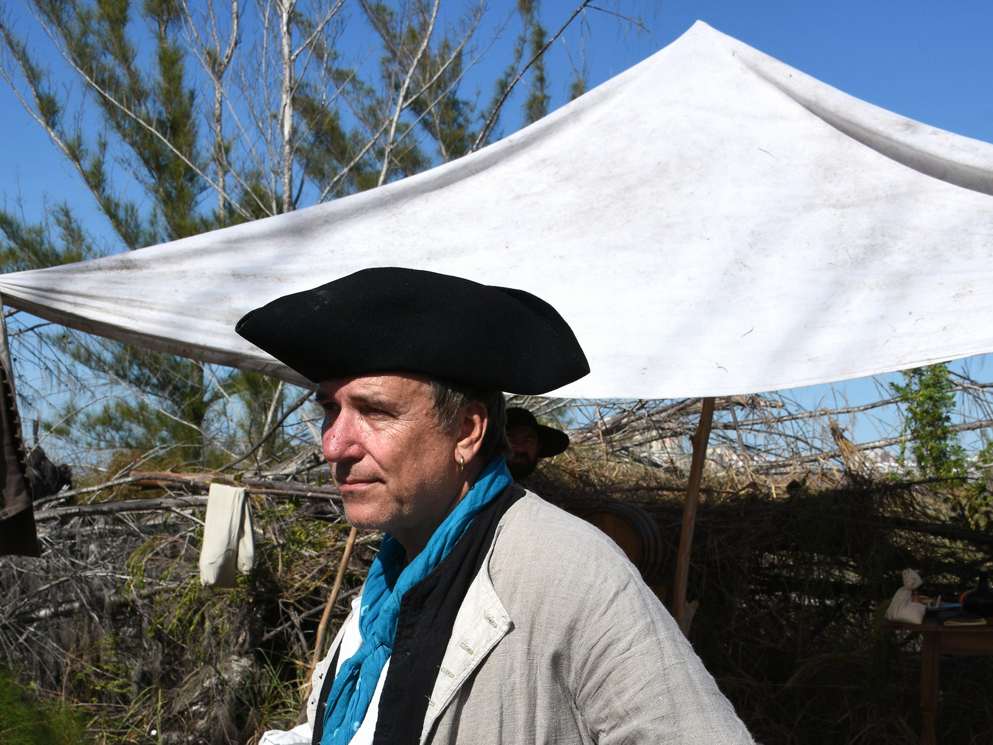 Ken Tyndell is an Orlando ABC news anchor in real life.  A group of historical reenactors dedicated to living the life of 18th century swashbucklers set up a pirate camp on Kice Island, across Caxambas Pass from Cape Marco, over the weekend.