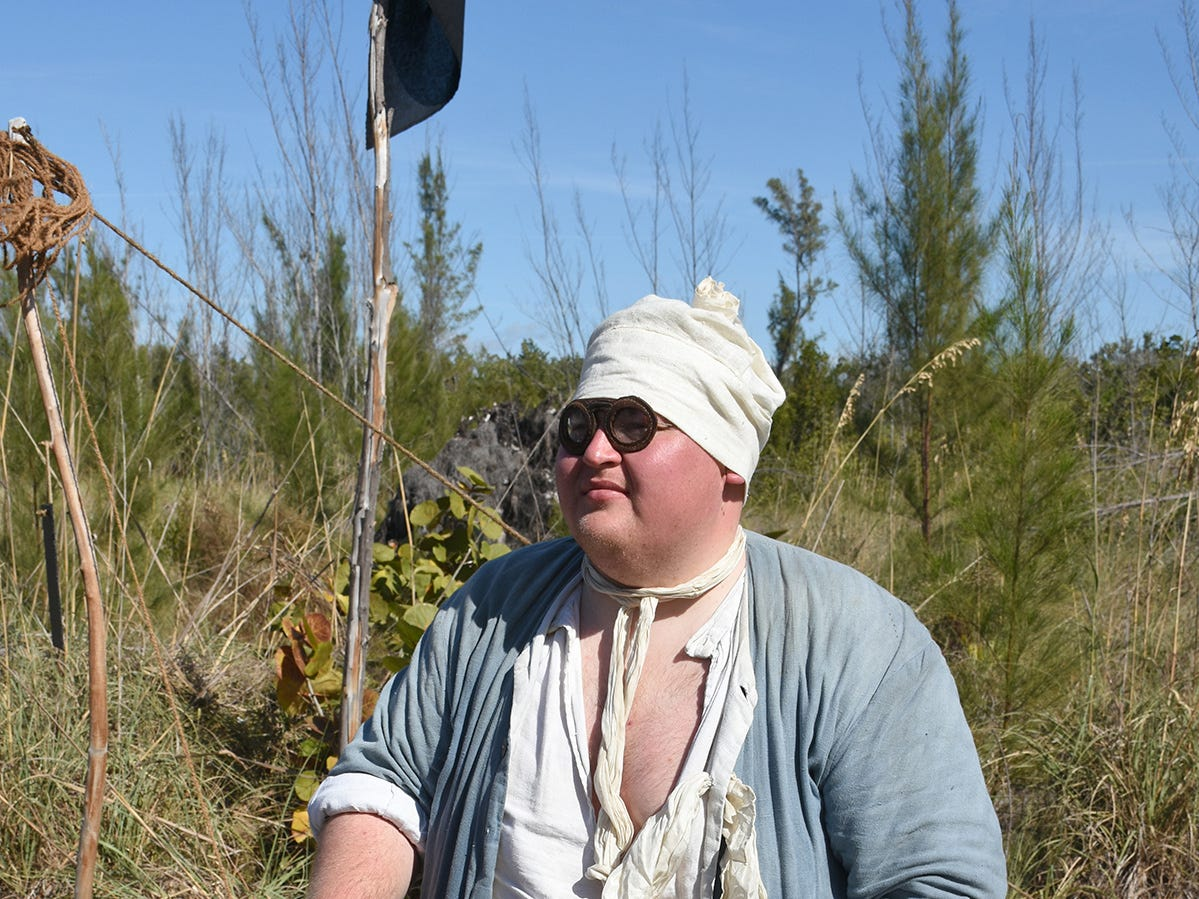 The clothing, even the eyeglasses are all period-authentic. A group of historical reenactors dedicated to living the life of 18th century swashbucklers set up a pirate camp on Kice Island, across Caxambas Pass from Cape Marco, over the weekend.