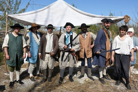 A scurvy lot - the crew of the Scavenger. A group of historical reenactors dedicated to living the life of 18th century swashbucklers set up a pirate camp on Kice Island, across Caxambas Pass from Cape Marco, over the weekend.