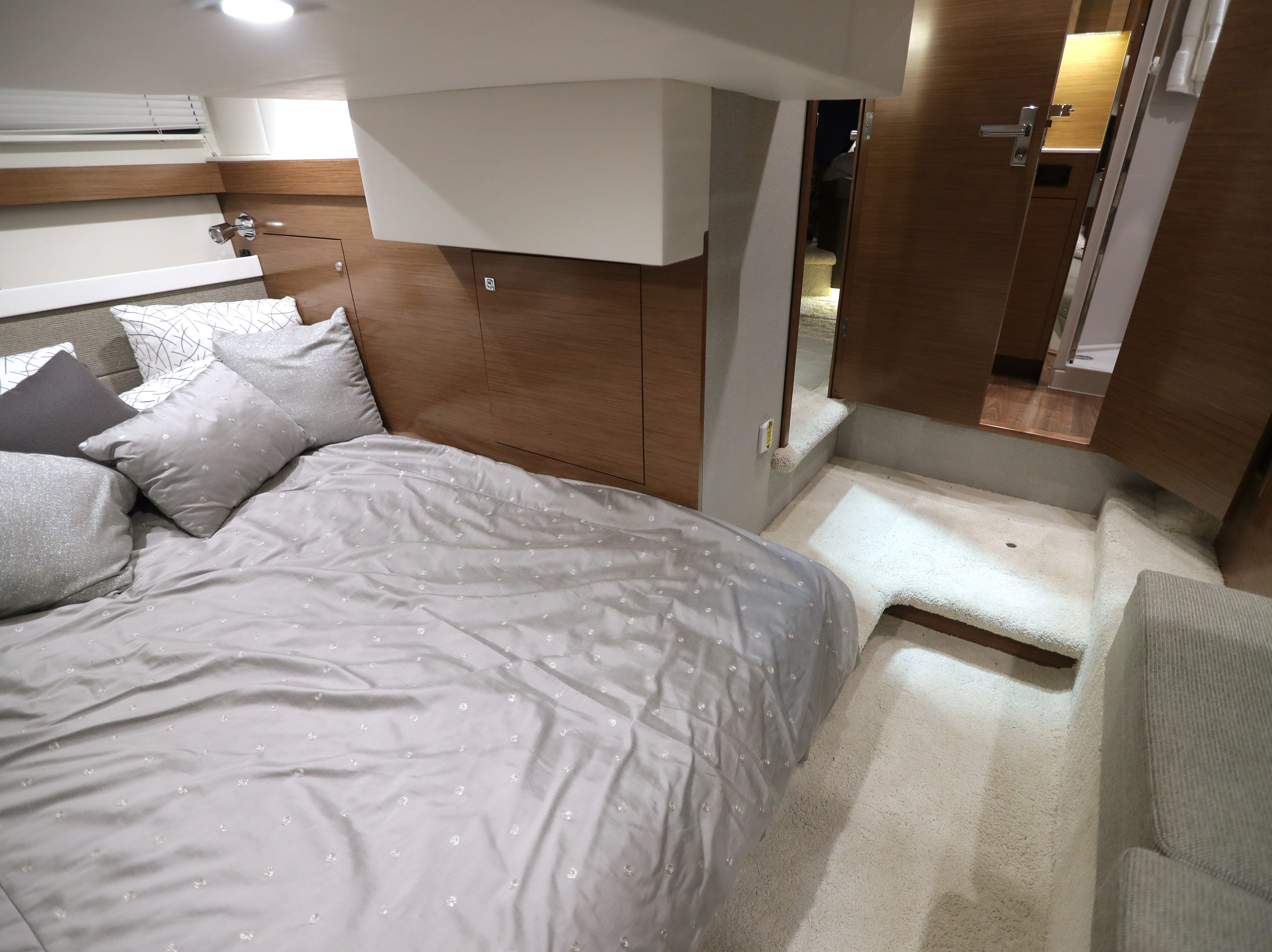 A guest berth in a 2019 42-foot Cruisers Cantius yacht, which lists for $1,022,244.
