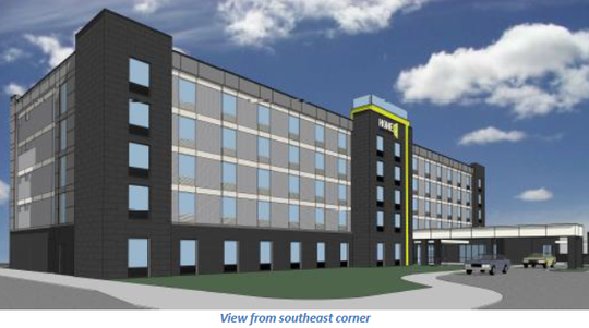 An artist rendering shows the front of the Home2 Suites by Hilton hotel proposed for the southeast corner of 70th and Washington streets. The proposed hotel would face east.