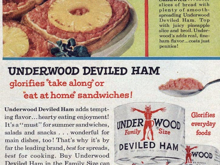 Underwood deviled ham was promoted in this magazine ad from the 1950s.