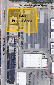A Home2 Suites by Hilton and its parking lot would occupy the southeast corner of 70th and Washinton streets.