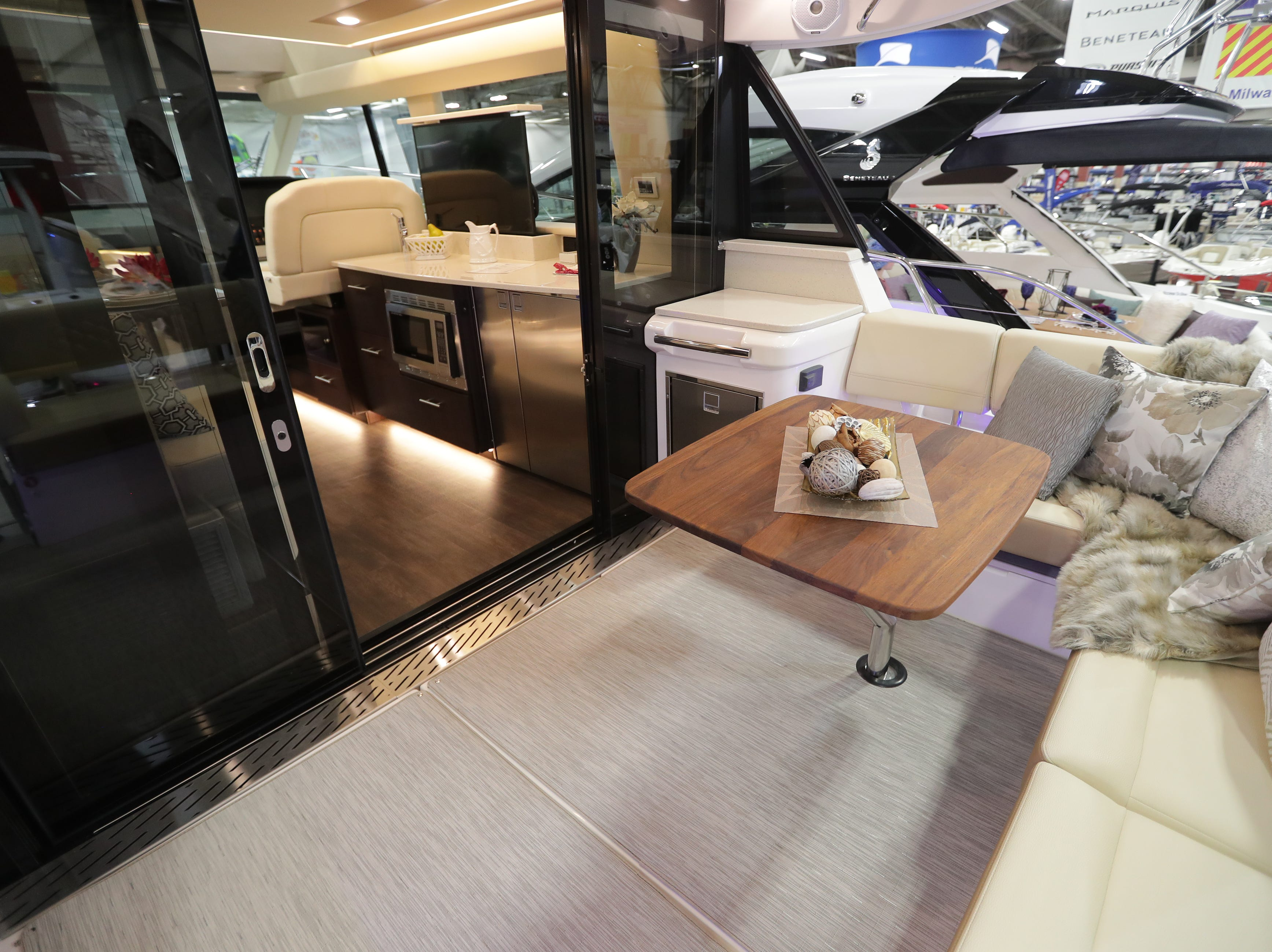 The exterior seating area of a 42-foot Regal Grande Coupe yacht, which lists for $725,000 at the Milwaukee Boat Show at State Fair Park in West Allis on Wednesday, Jan. 23, 2019. The show runs Thursday through Sunday.