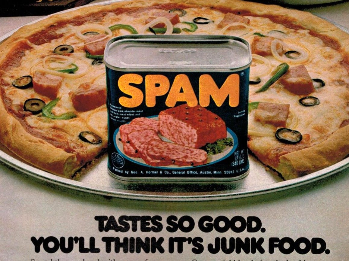Spam pizza was suggested in the 1970s.
