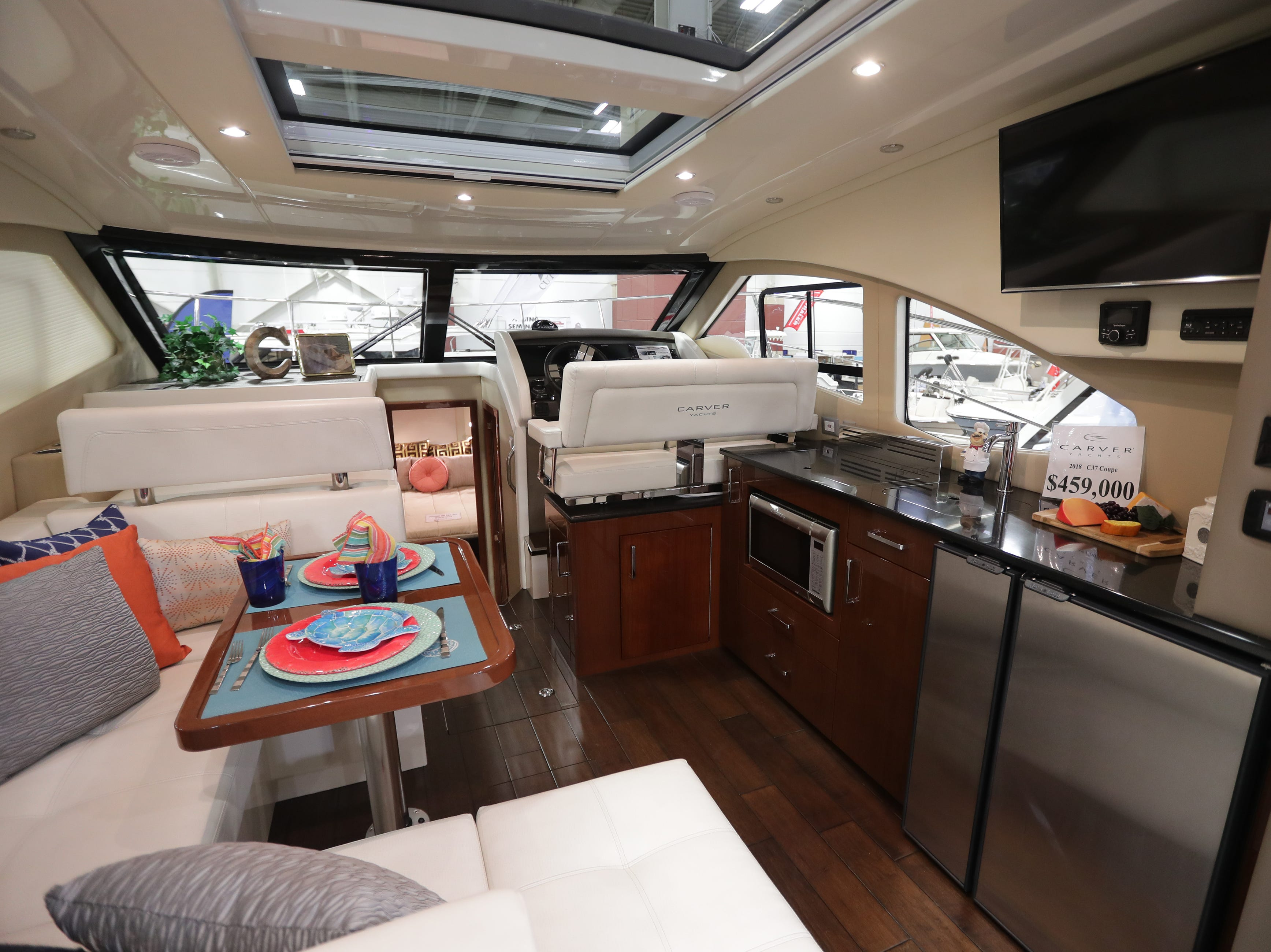 The galley and dining area of a 2019 37-foot Carver yacht, which lists for $459,000.