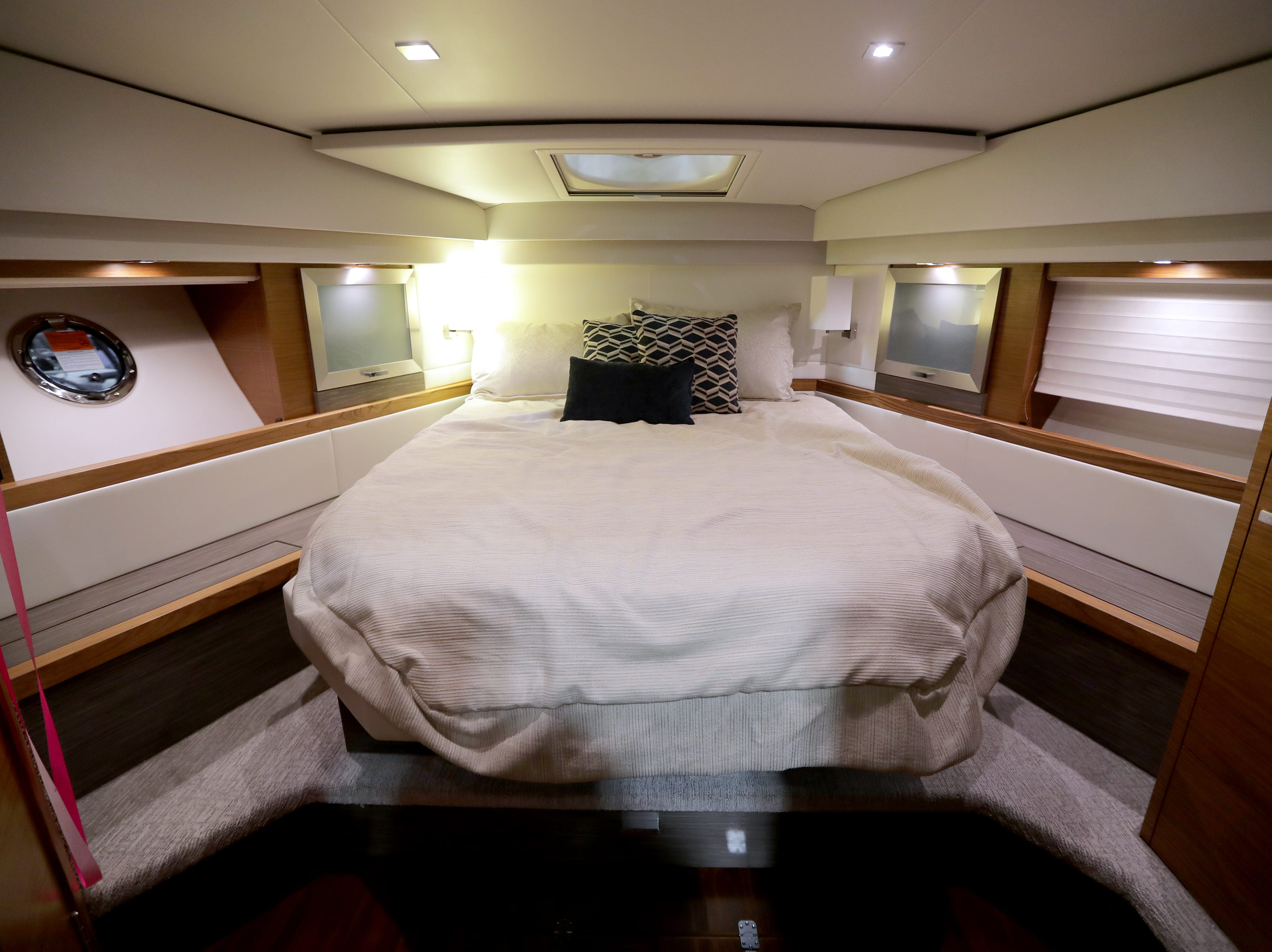 The master bedroom in a 2019 44-foot Tiara yacht, which lists for $1,205,682.