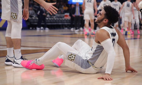 Marquette guard Markus Howard shakes off an injury against DePaul in a recent game.