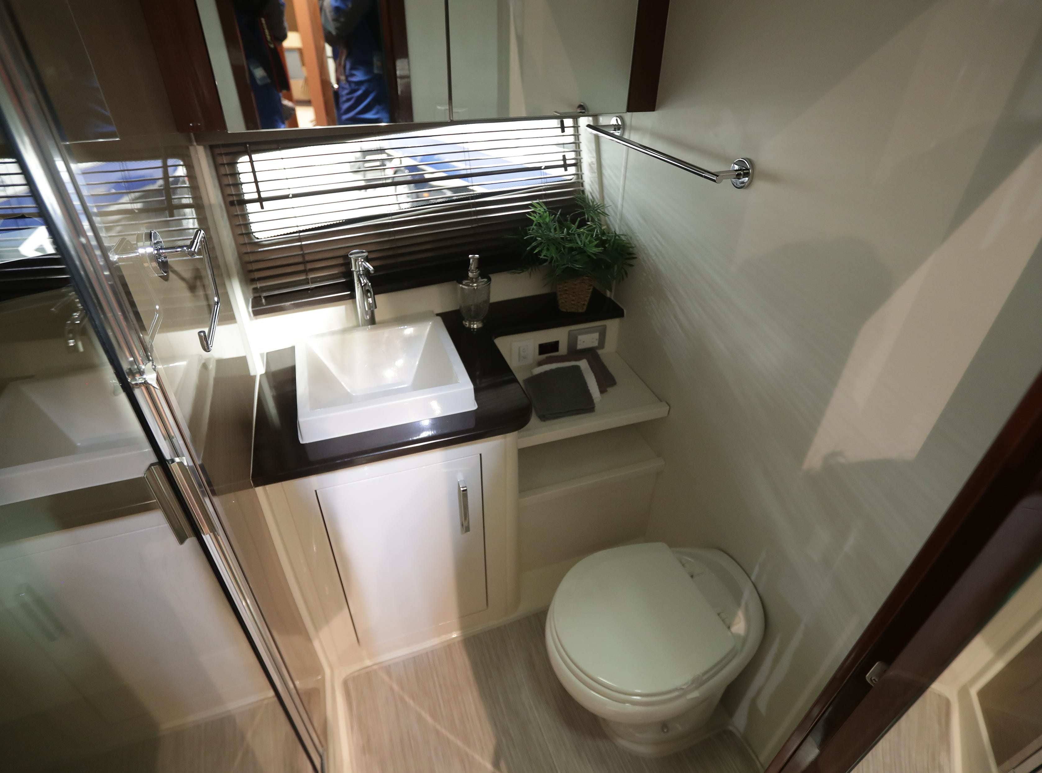 The bathroom of a 2019 37-foot Carver yacht, which lists for $459,000.