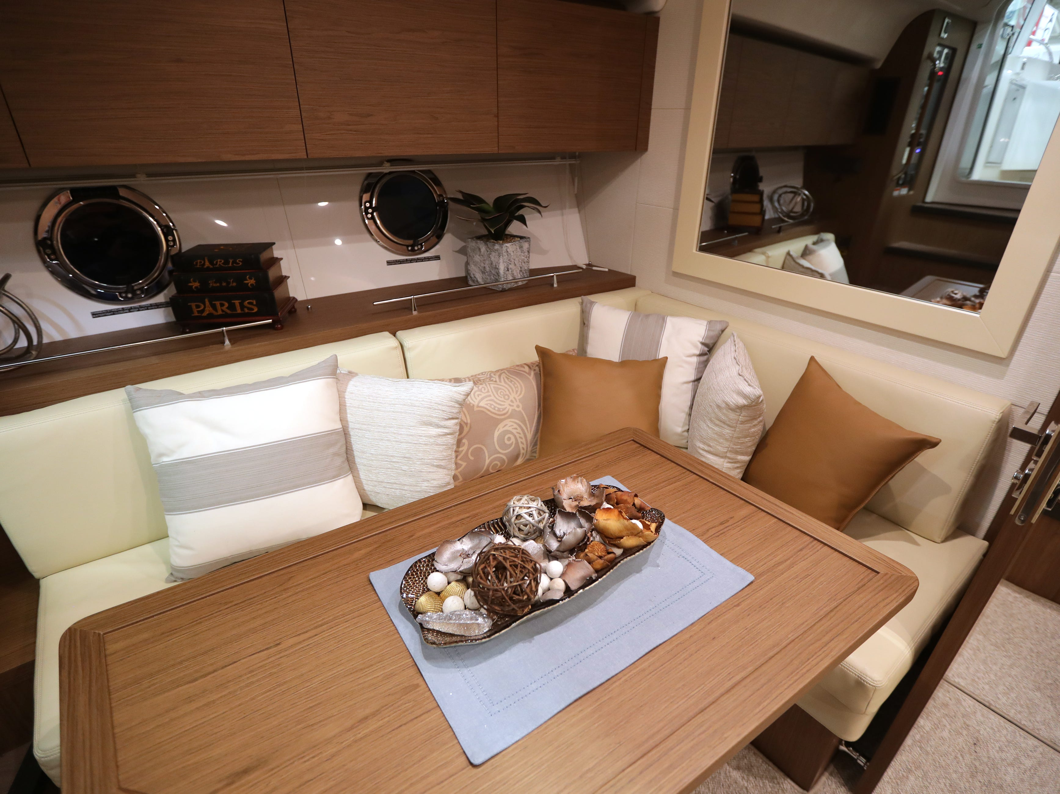 A lower dining area in a 2019 40-foot Beneteau  yacht, which lists for $500,000.