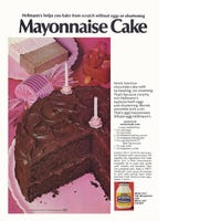 No eggs or shortening were needed to make this cake, Hellmann's boasted.
