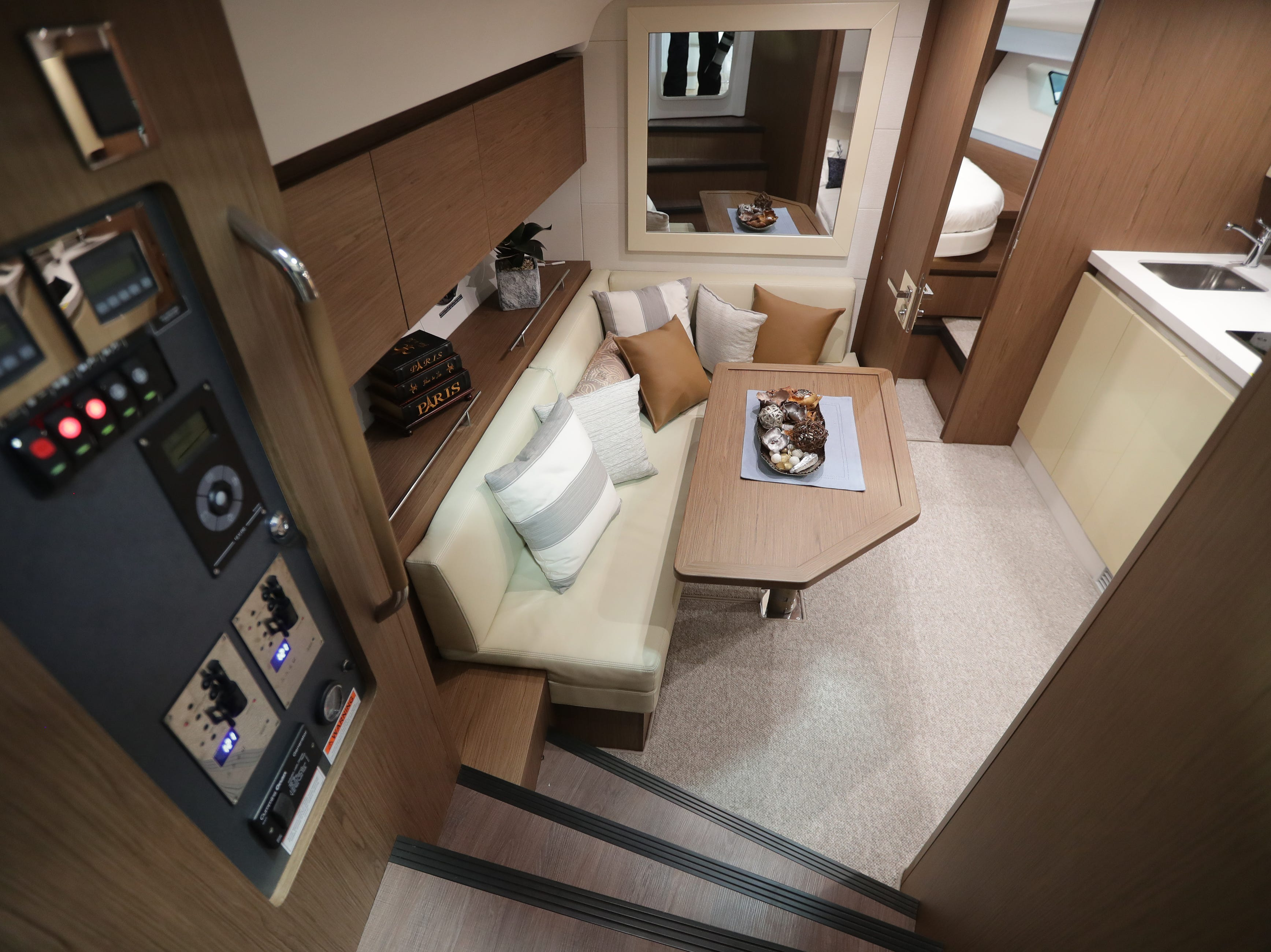 The lower interior seating area of a 2019 40-foot Beneteau  yacht, which lists for $500,000.