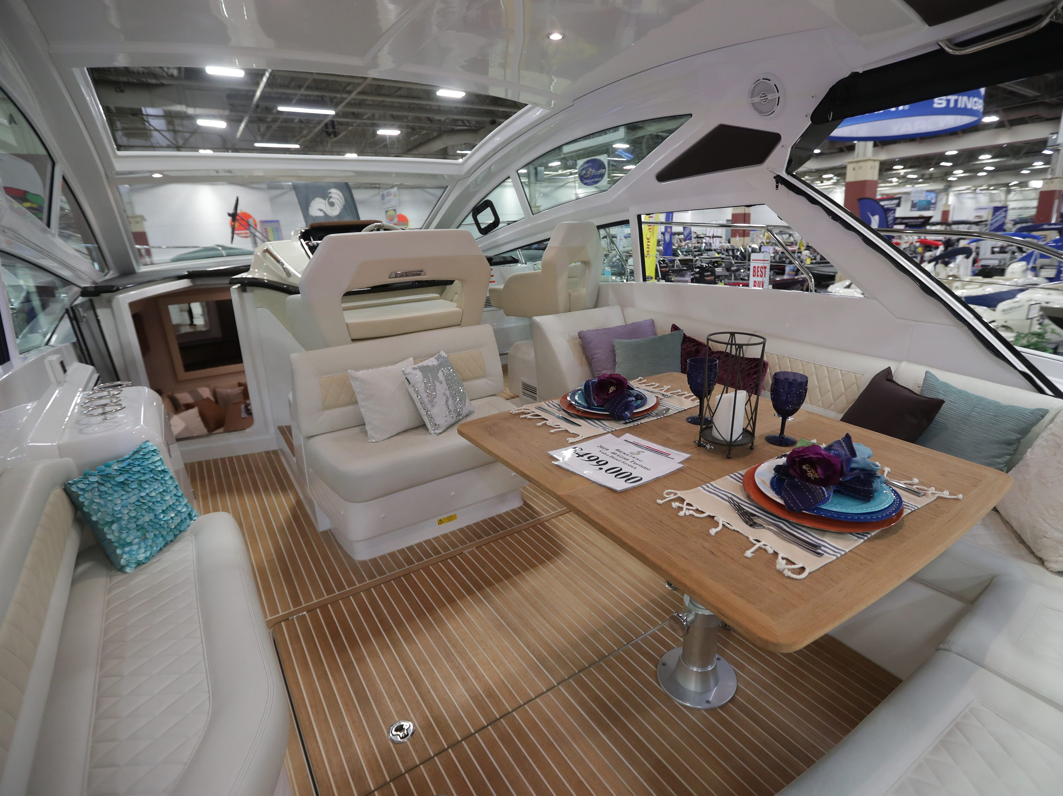 The interior of a 2019 40-foot Beneteau  yacht, which lists for $500,000.