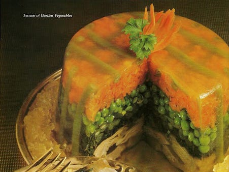 Recipes combining vegetables mixed with gelatin, sometimes called aspic, were not uncommon.