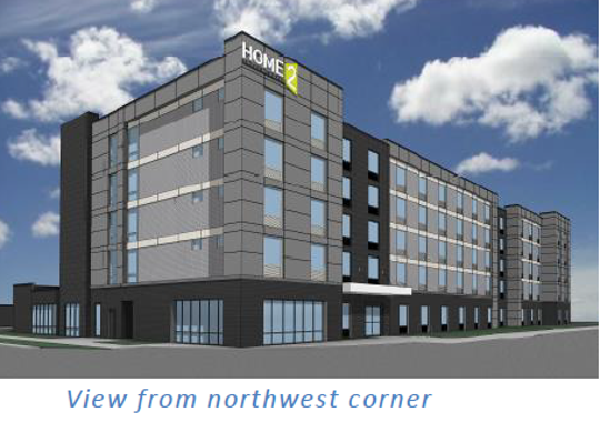 An artist rendering shows the view of the proposed Home2 Suites by Hilton hotel that southbound drivers along 70th Street would see. The 128-room hotel is proposed for 70th and Washington streets.