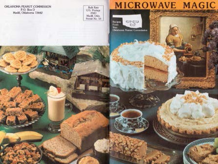 The Oklahoma Peanut Commission produced this recipe booklet in 1984, just as microwave ovens were becoming standard in American kitchens.