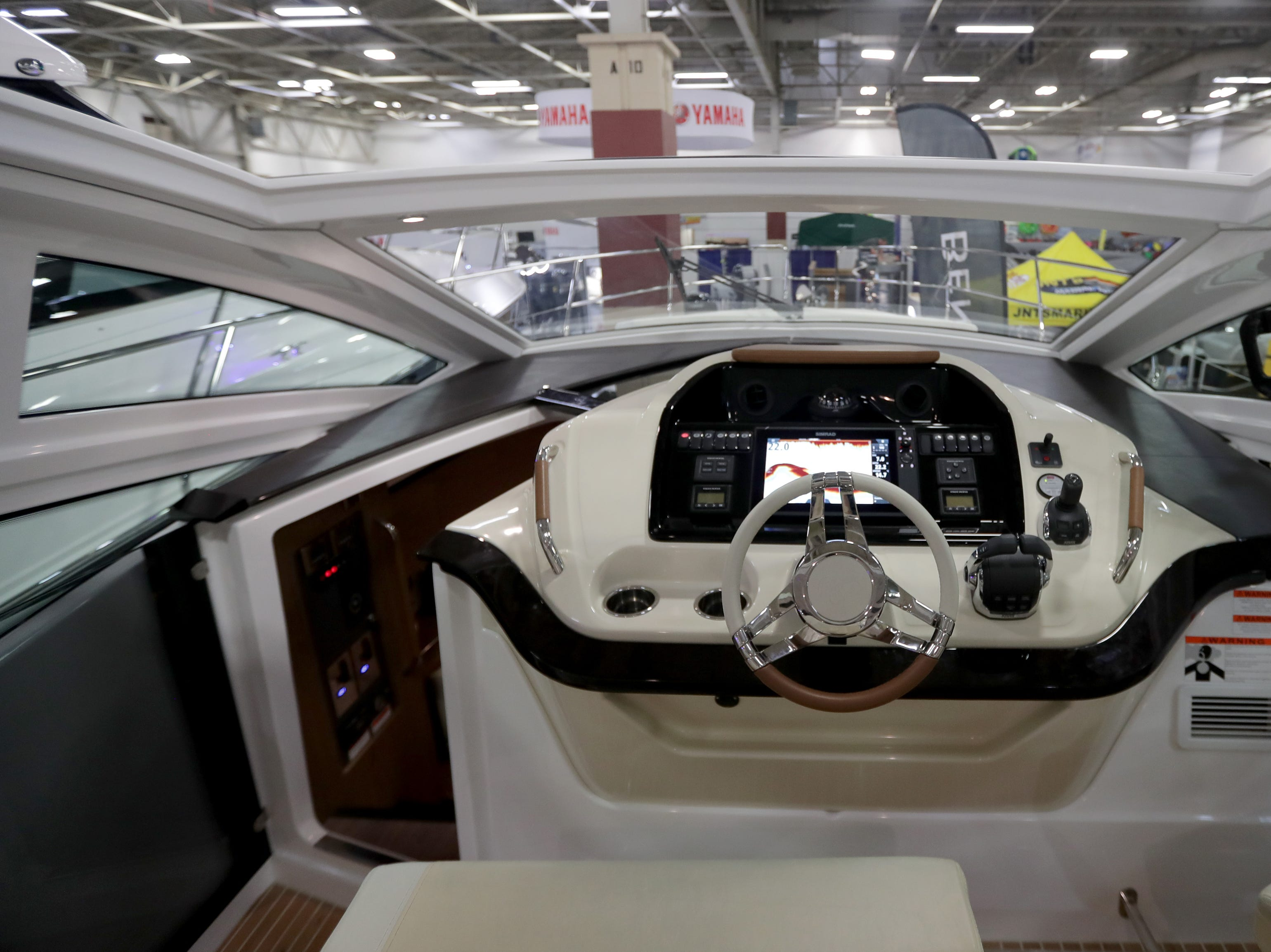 The helm of a 2019 40-foot Beneteau  yacht, which lists for $500,000.