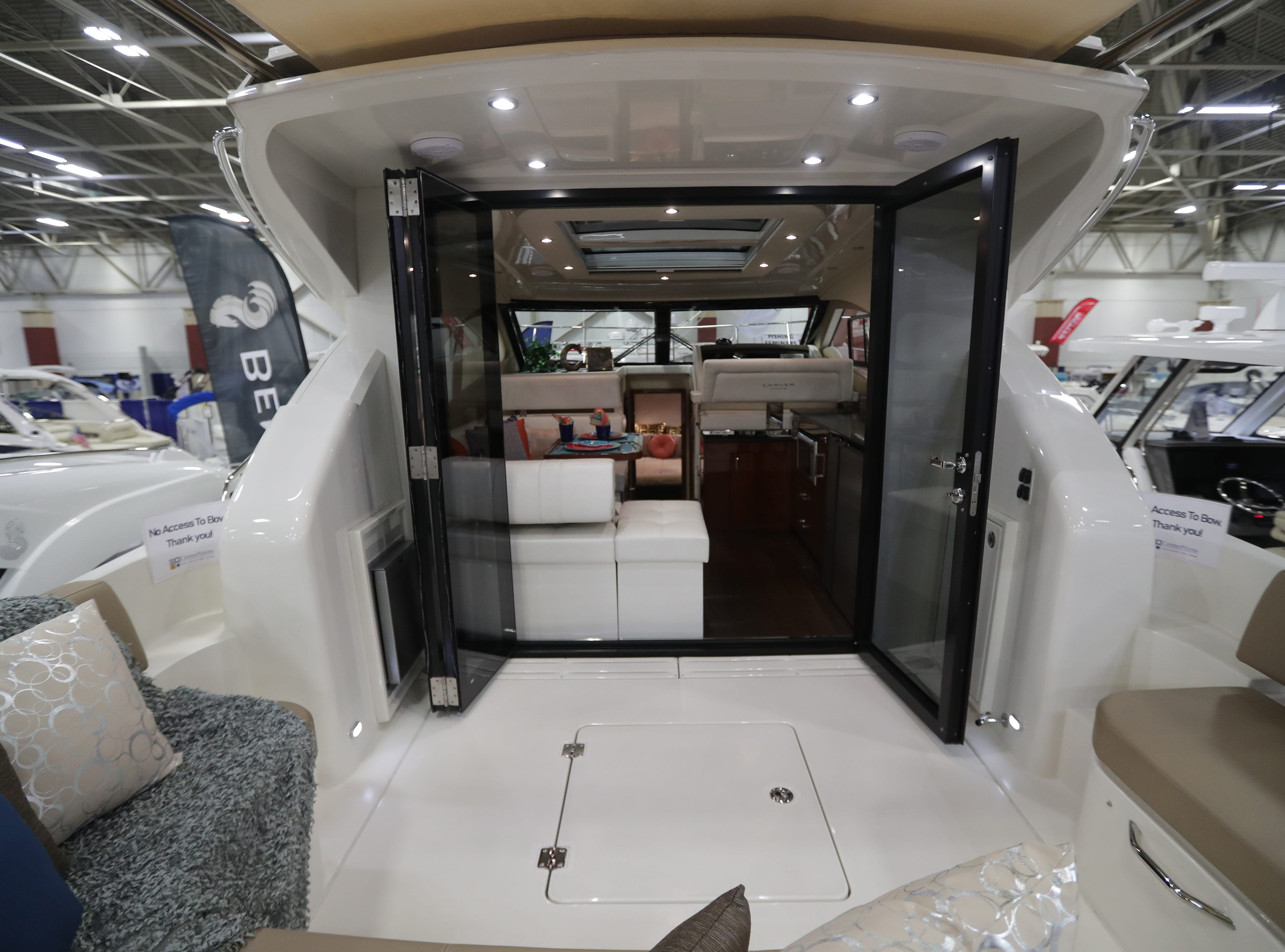 The rear area of a 2019 37-foot Carver yacht, which lists for $459,000.