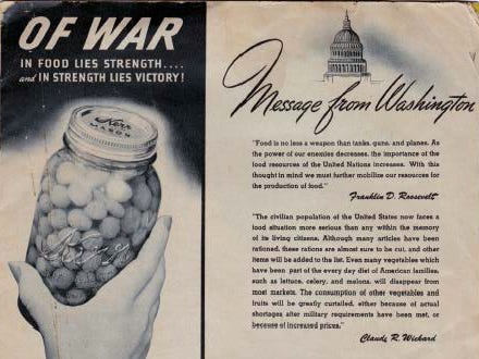 In 1943 the Kerr Glass Manufacturing Corp. promoted canning food as a patriotic endeavor.