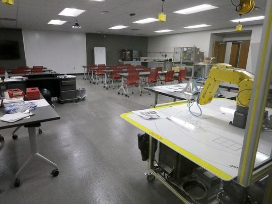 A completed Project Lead the Way classroom space from what was an auxillary gym is shown here at Germantown High School. The Germantown School District recently received a $25,000 donation from MGS Manufacturing for its technology education classrooms.