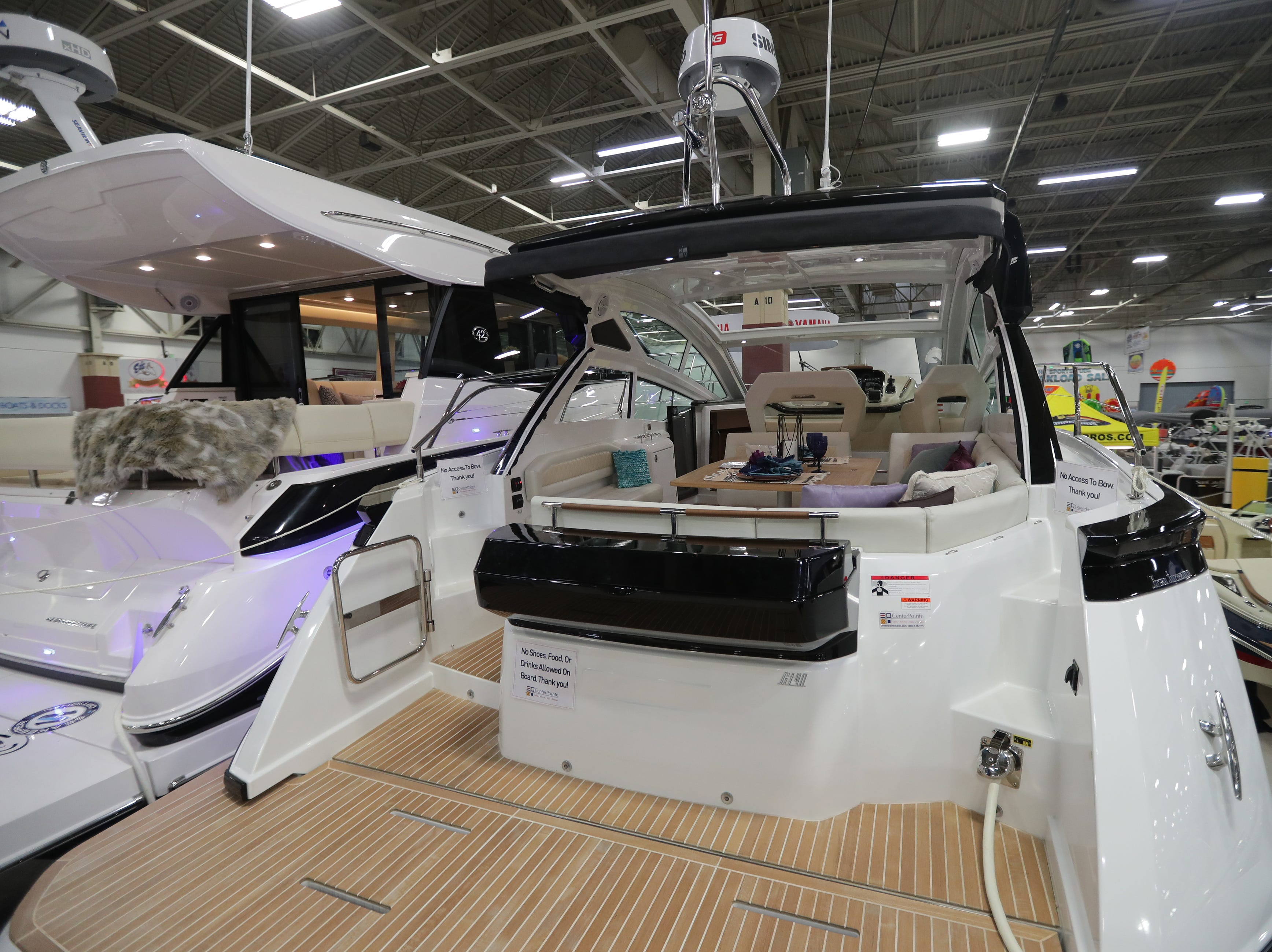 The rear deck of a 2019 40-foot Beneteau yacht, which lists for $500,000.