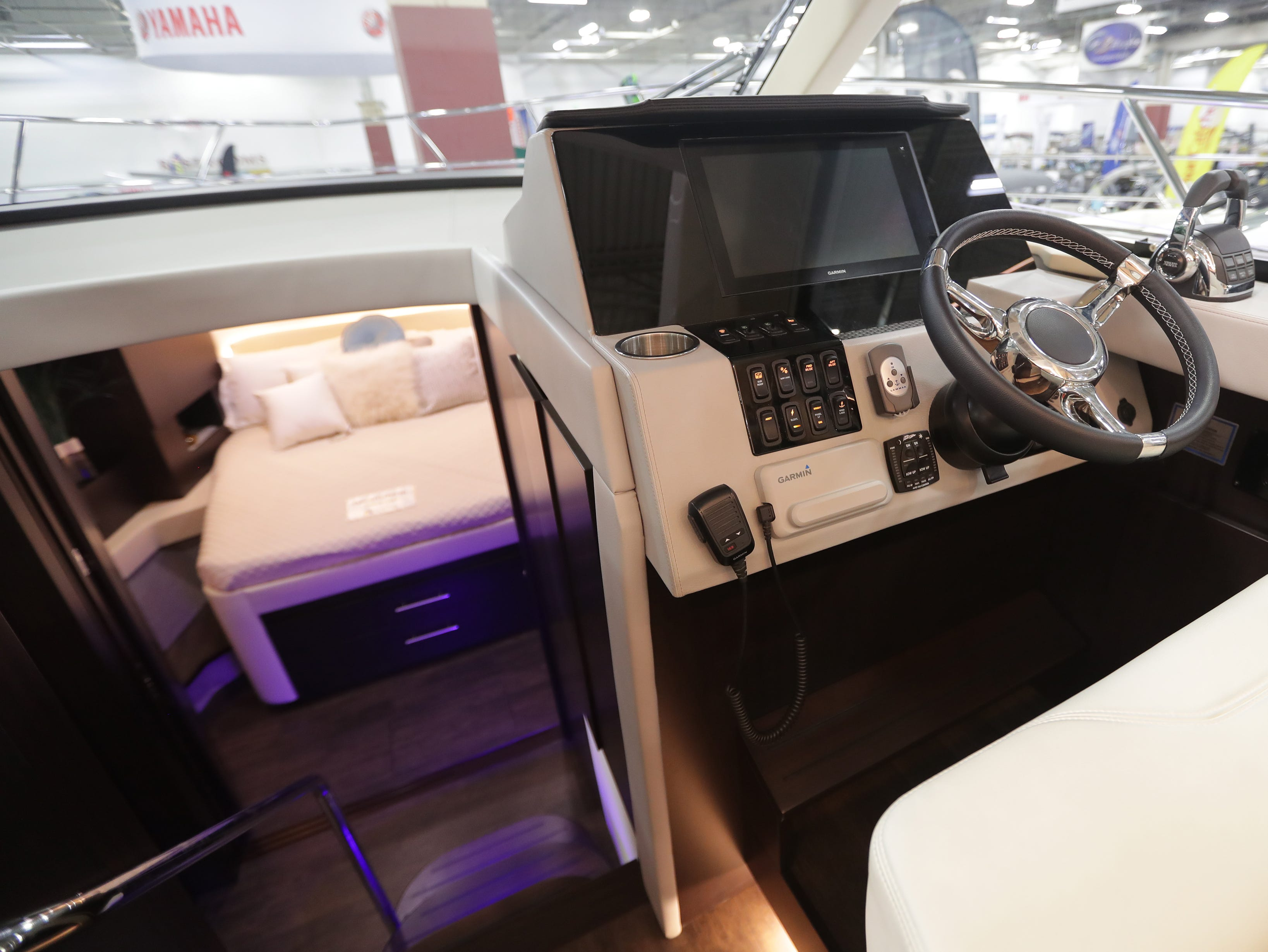 The helm of a 42-foot Regal Grande Coupe yacht, which lists for $725,000 at the Milwaukee Boat Show at State Fair Park in West Allis.