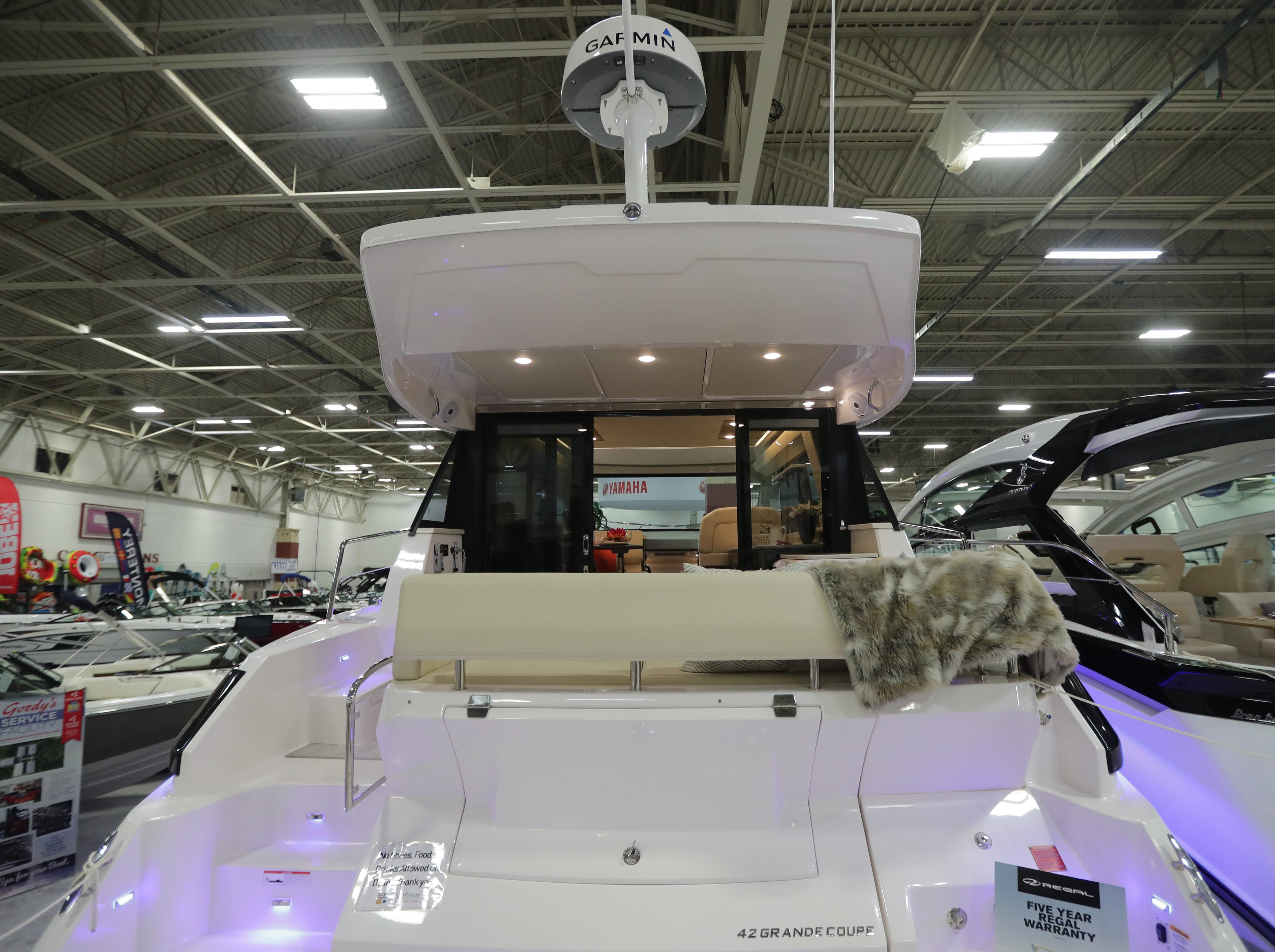 The rear area of a 42-foot Regal Grande Coupe yacht, which lists for $725,000.