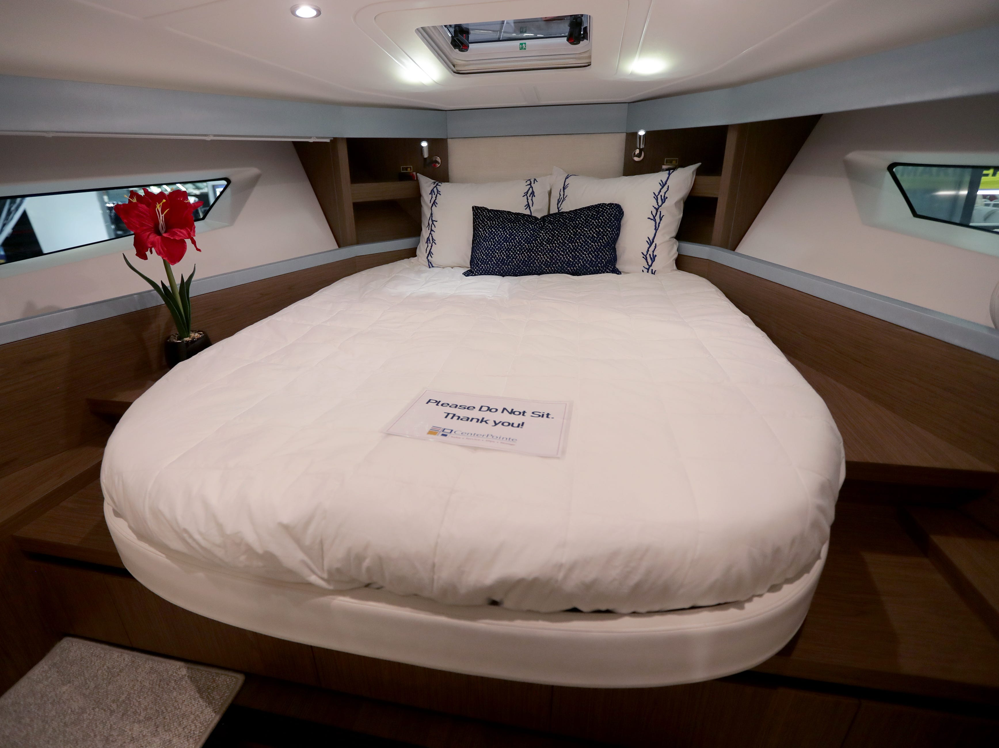 The master berth in a 2019 40-foot Beneteau yacht, which lists for $500,000.