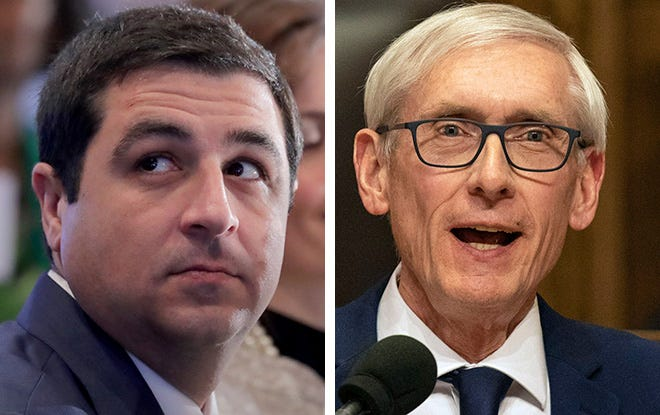 Attorney General Josh Kaul (left) and Gov. Tony Evers (right)