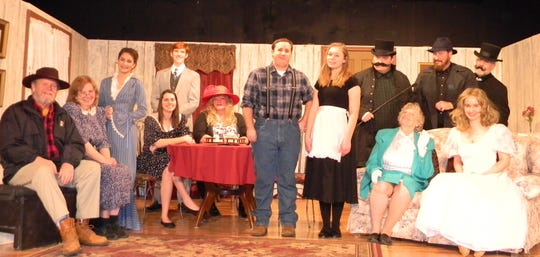 The cast for Pure as the Driven Snow includes: (first row, from left)Bill Simpson, Judy Dolen, Marcella Schlote, Skylar Jensen, Dustine Higgins, Dylan Gamble, Kayla Smith, Sue Howe, Olivia Wolfe, (second row)Reese Villiger, Mike Horberg, Michael Reich andMike Johnson.Not Pictured: Tiffany Hennings.