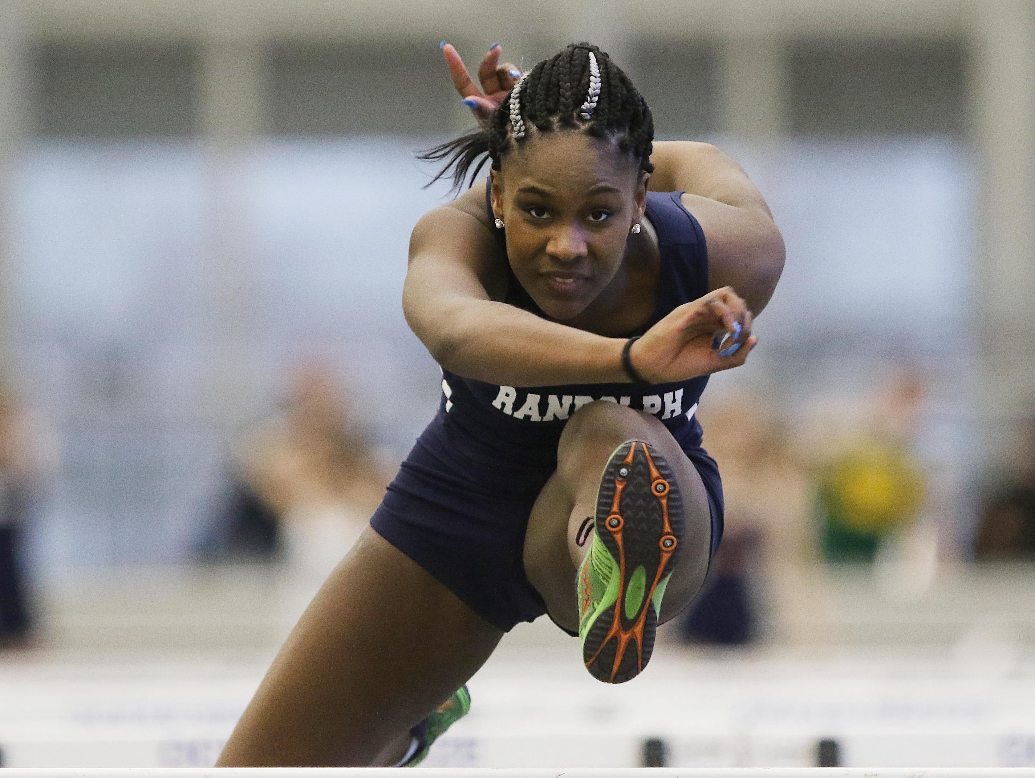 Karen Hull of Randolph in the 55 meter hurdles.