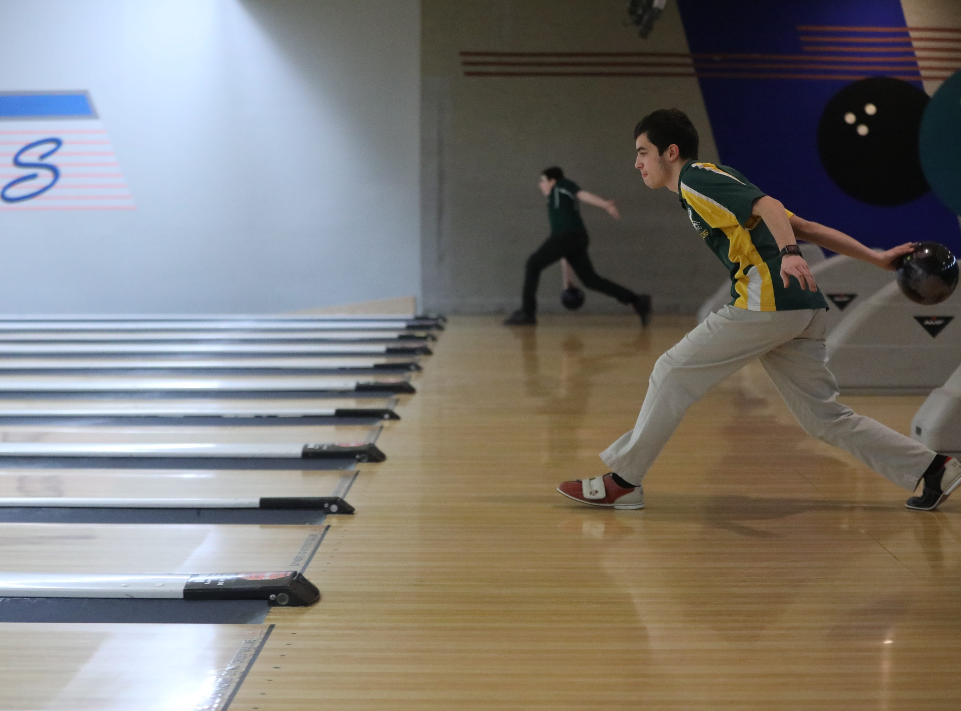 Dom Pereira, of Morris Knolls, competes in the Morris County Bowling Tournament. Thursday, January 24, 2019
