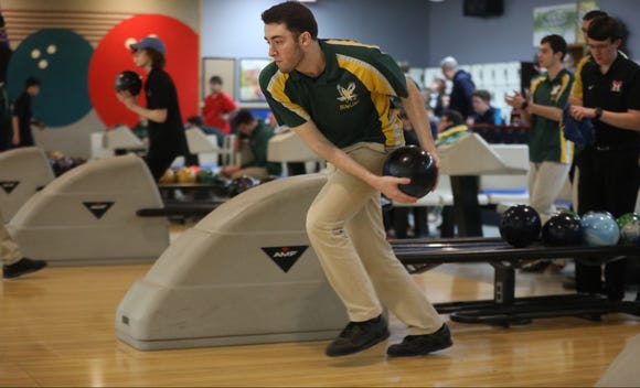 Nick Paton, of Morris Knolls, competes in the Morris County Bowling Tournament. Thursday, January 24, 2019