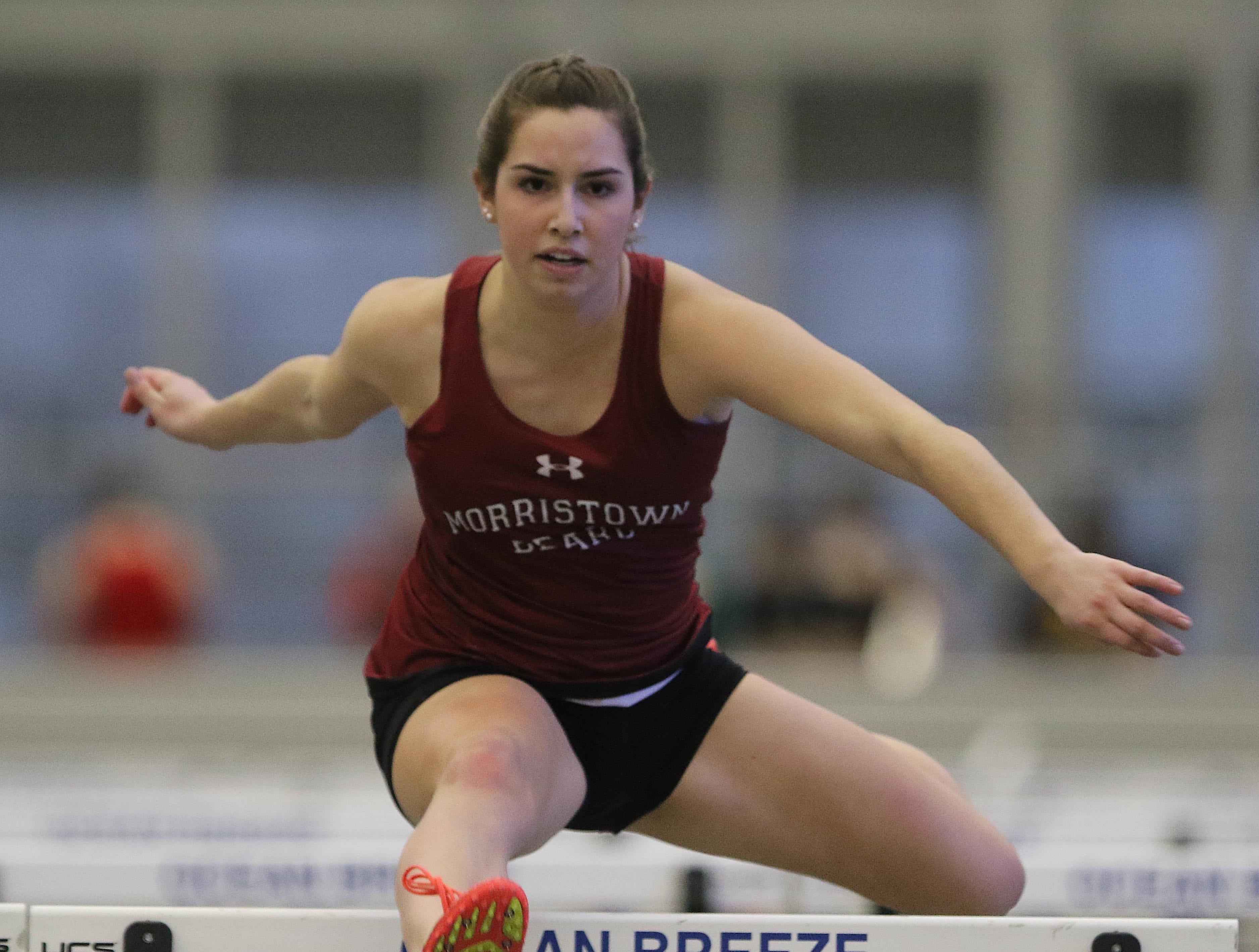 Nicole Borowiec of Morristown Beard wins the 55 meter hurdles.