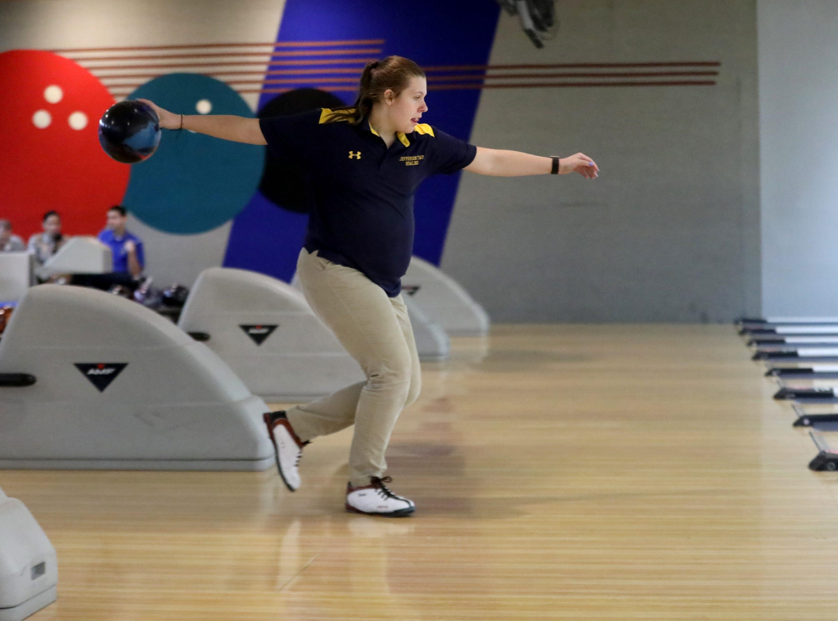 Jefferson senior Emma Thies bowls in the Morris County Tournament. Thursday, January 24, 2019