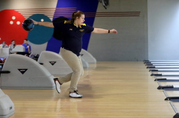 Jefferson senior Emma Thies bowls in the Morris County Tournament. Thursday, January 24, 2019