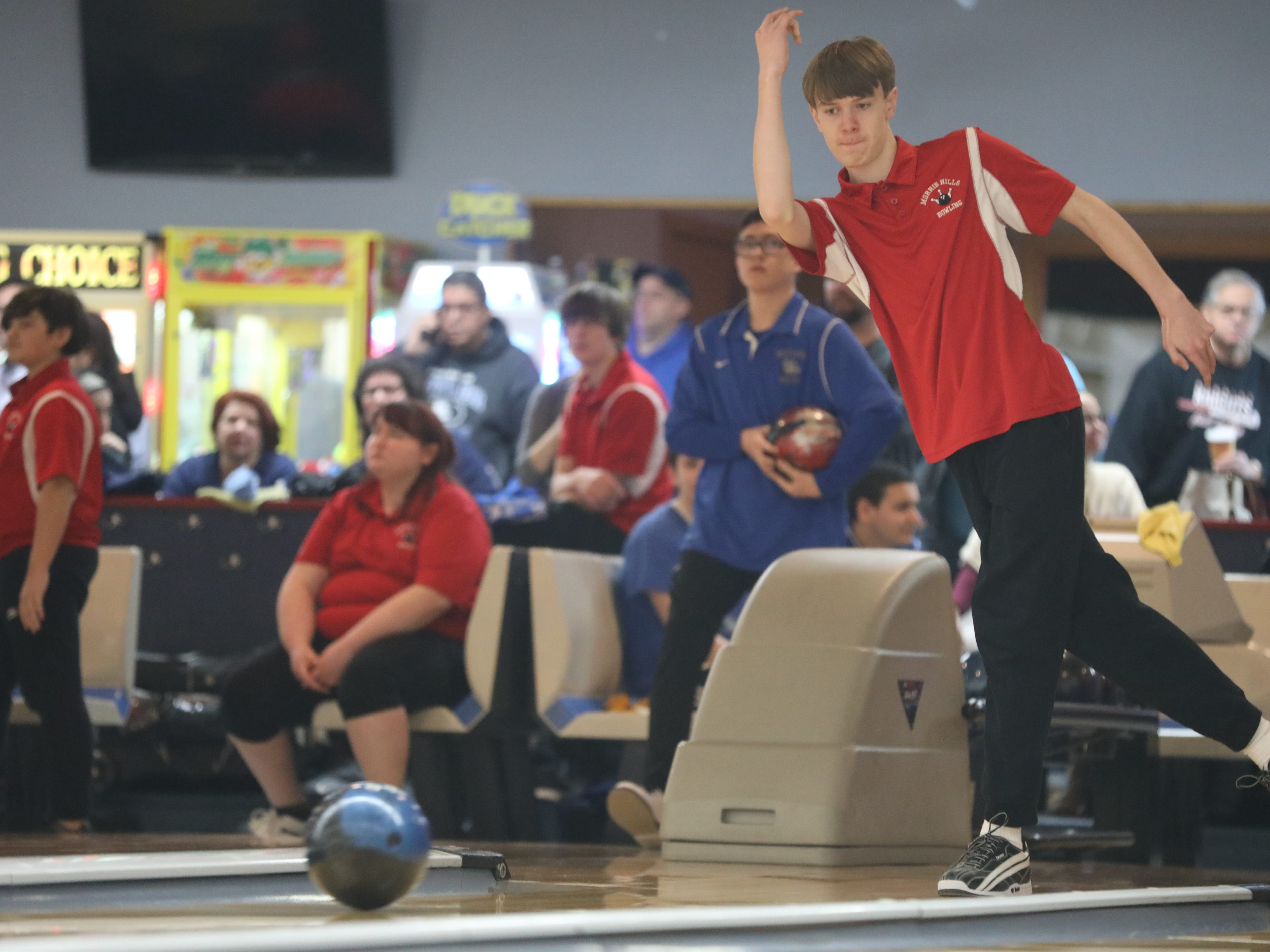Will Simkins, of Morris Hills, competes at the Morris County Bowling Tournament, in Rockaway. Thursday, January 24, 2019