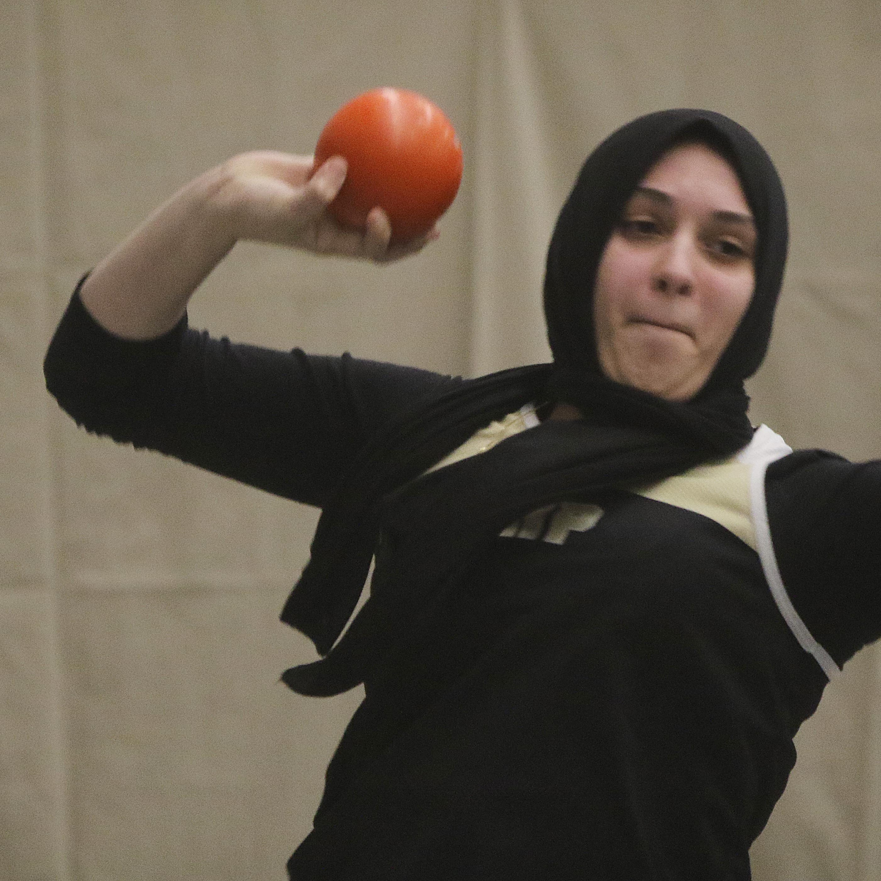 Hanover Park shot putter Rania Benatia showing strength in and out of circle