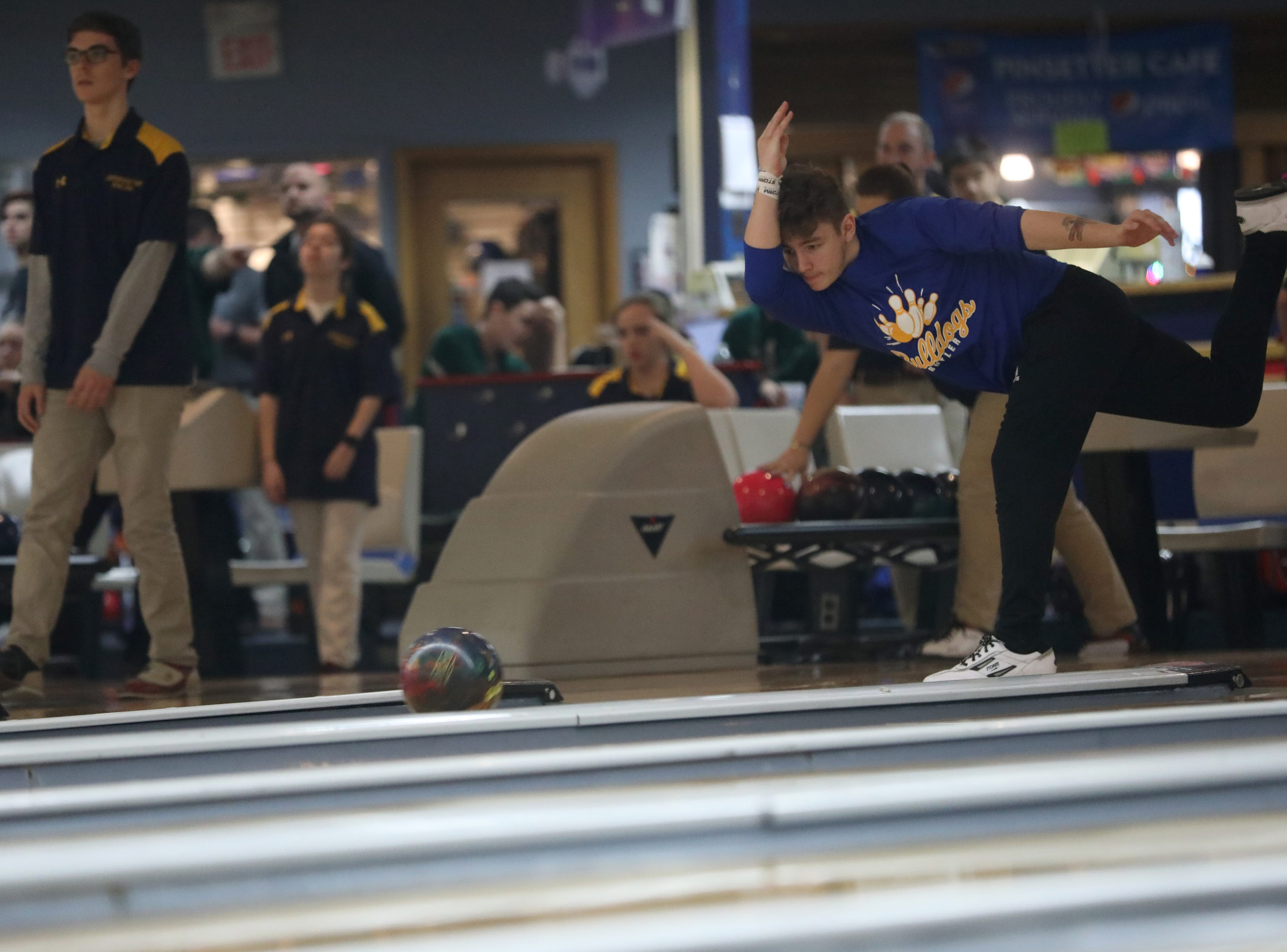 Aiden Marletta, of Butler, competes at the Morris County Bowling Tournament, in Rockaway. Thursday, January 24, 2019