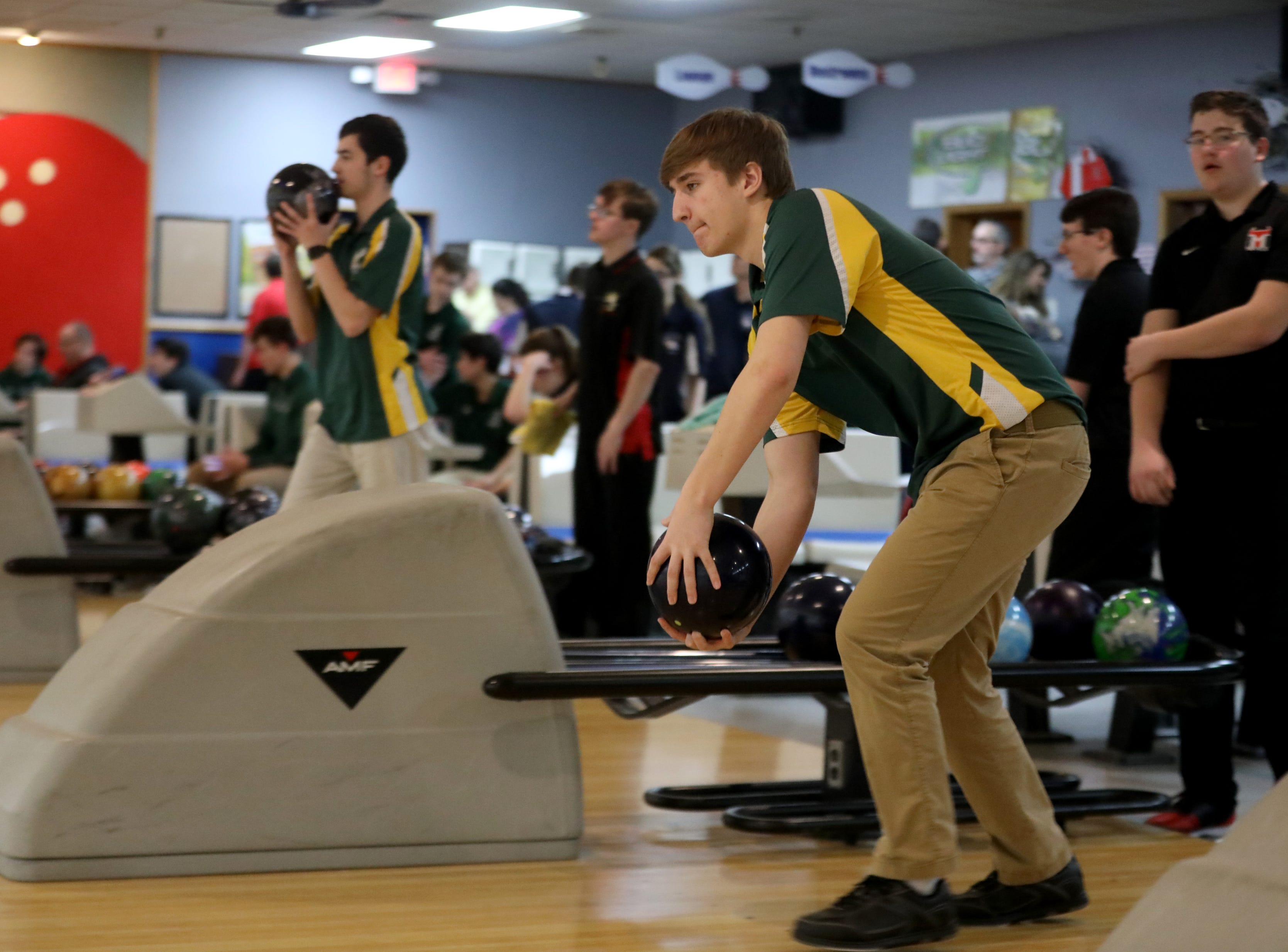 Tyler Johnson, of Morris Knolls, competes in the Morris County Bowling Tournament. Thursday, January 24, 2019
