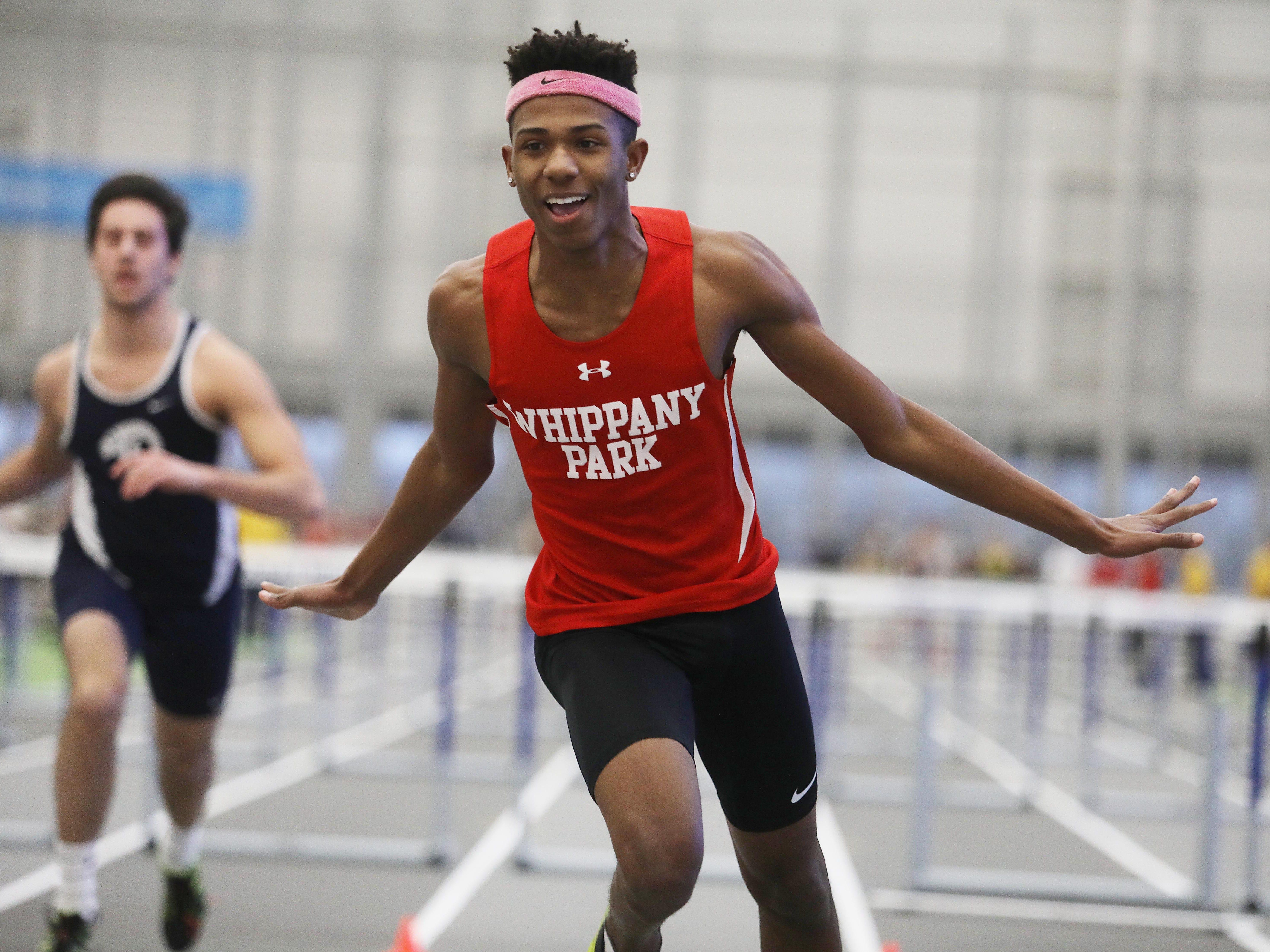 Whippany Park senior Christian Martin wins the boys 55-meter hurdles.