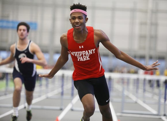 Whippany Park senior Christian Martin wins the boys 55-meter hurdles.