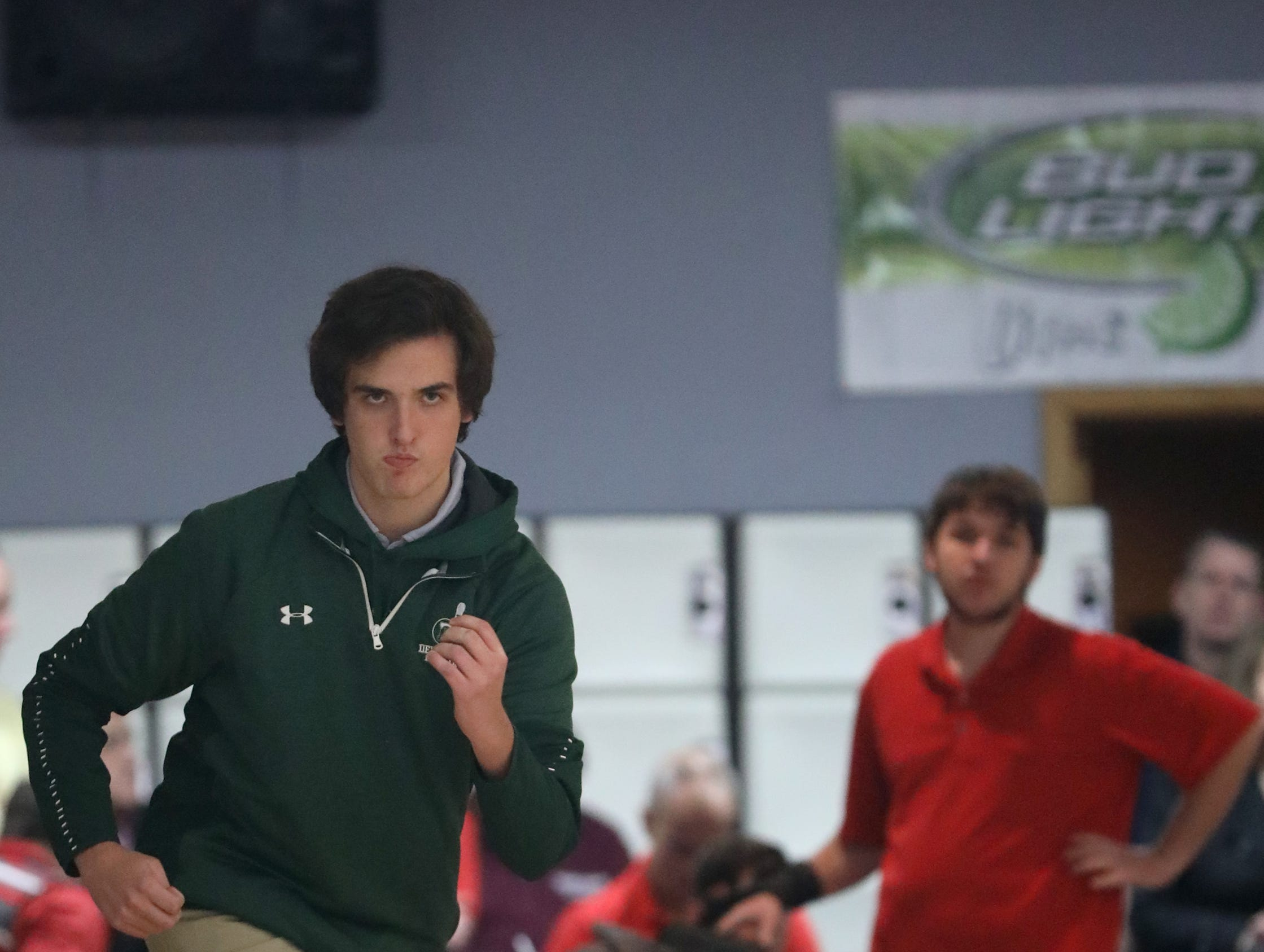 Billy Georgen, of Delbarton, competes at the Morris County Bowling Tournament, in Rockaway. Thursday, January 24, 2019