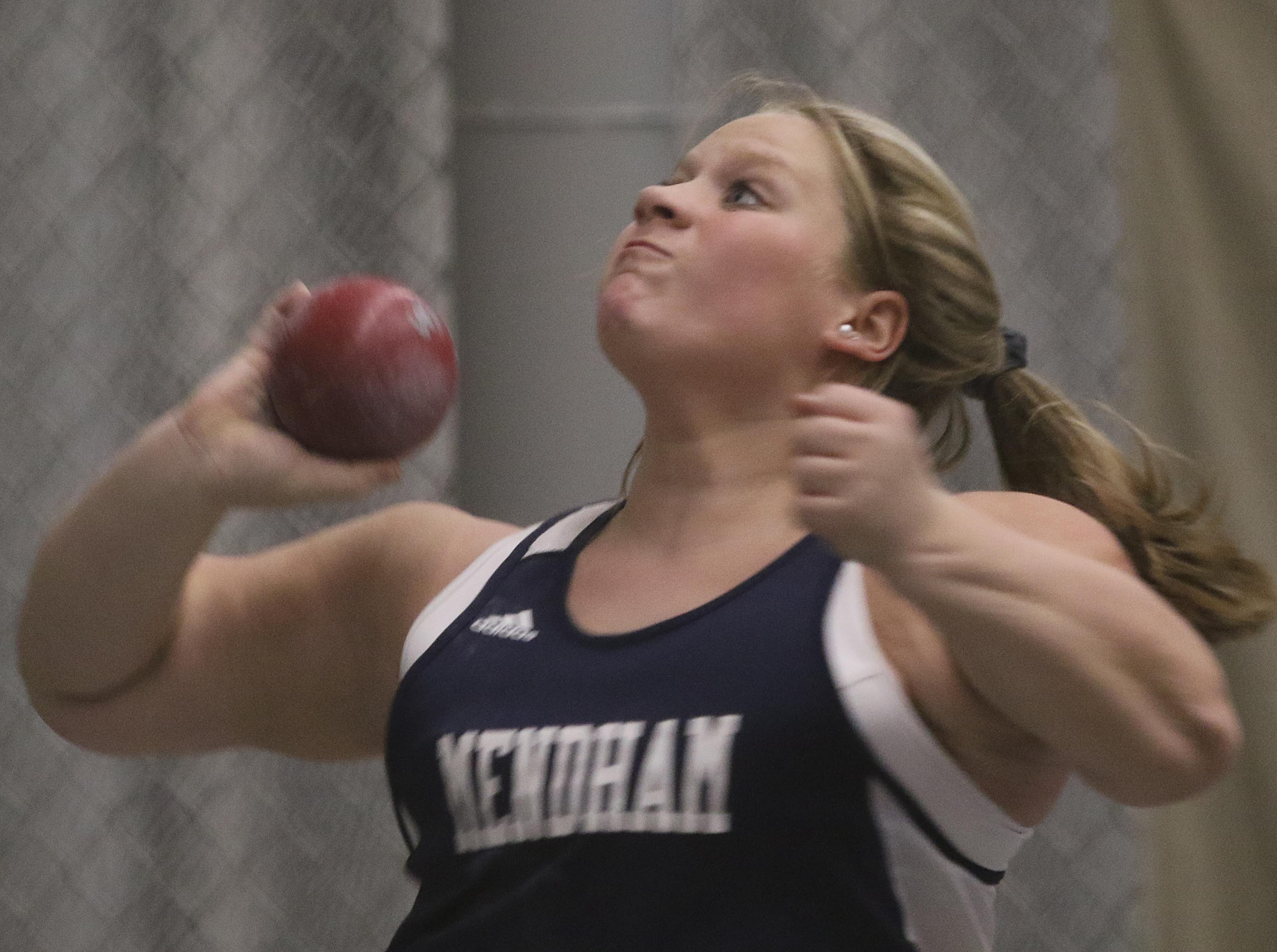 Melissa Aymil of Mendham place third in the girls shot put.